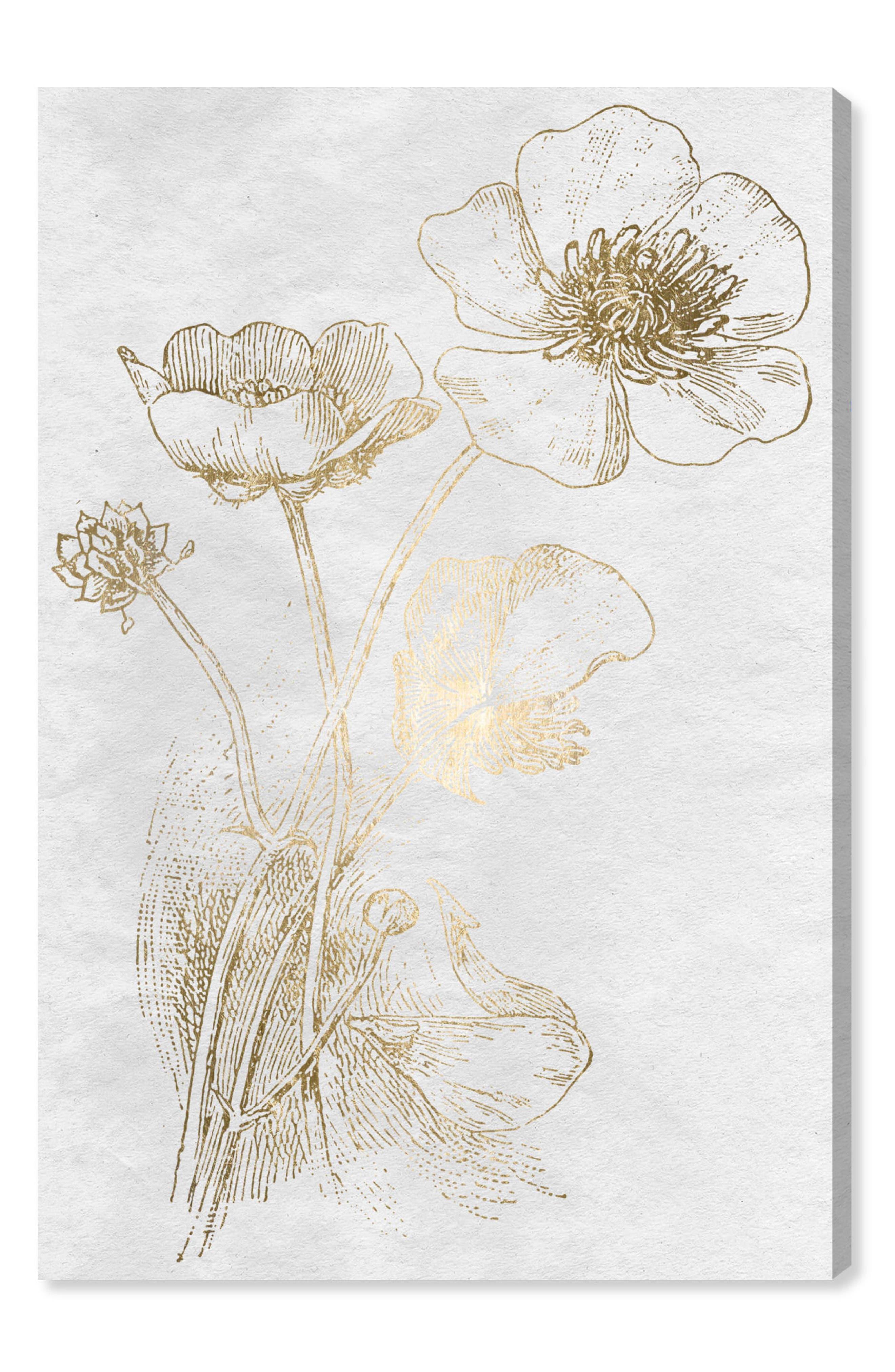 Poppy Sketch Canvas Wall Art,                         Main,                         color, Metallic Gold