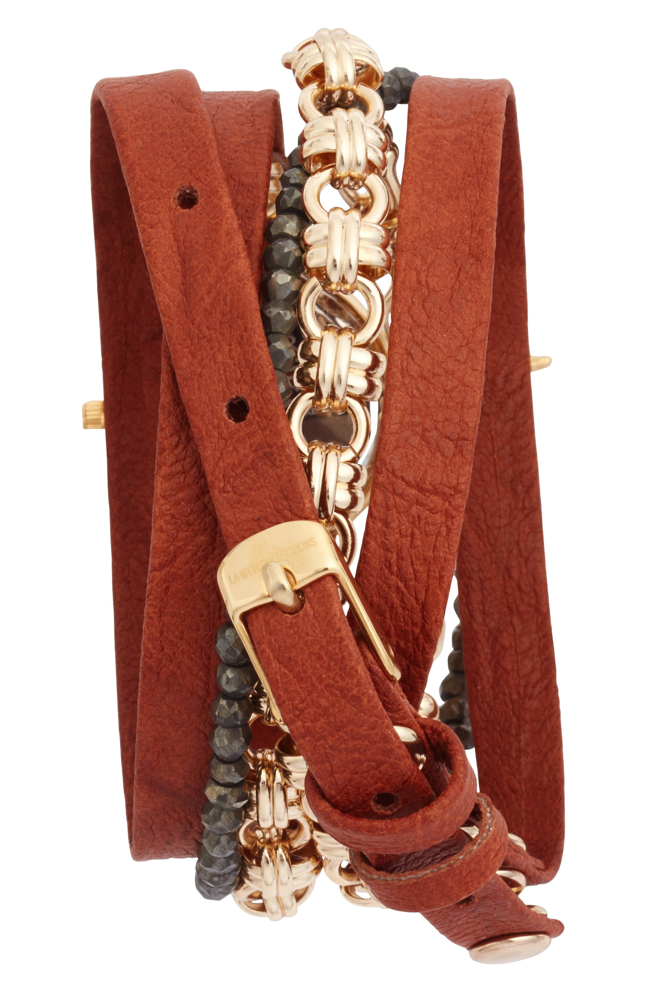 Del Mar Leather & Chain Wrap Watch, 35mm x 20mm,                             Alternate thumbnail 3, color,                             Tobacco/ White/ Gold