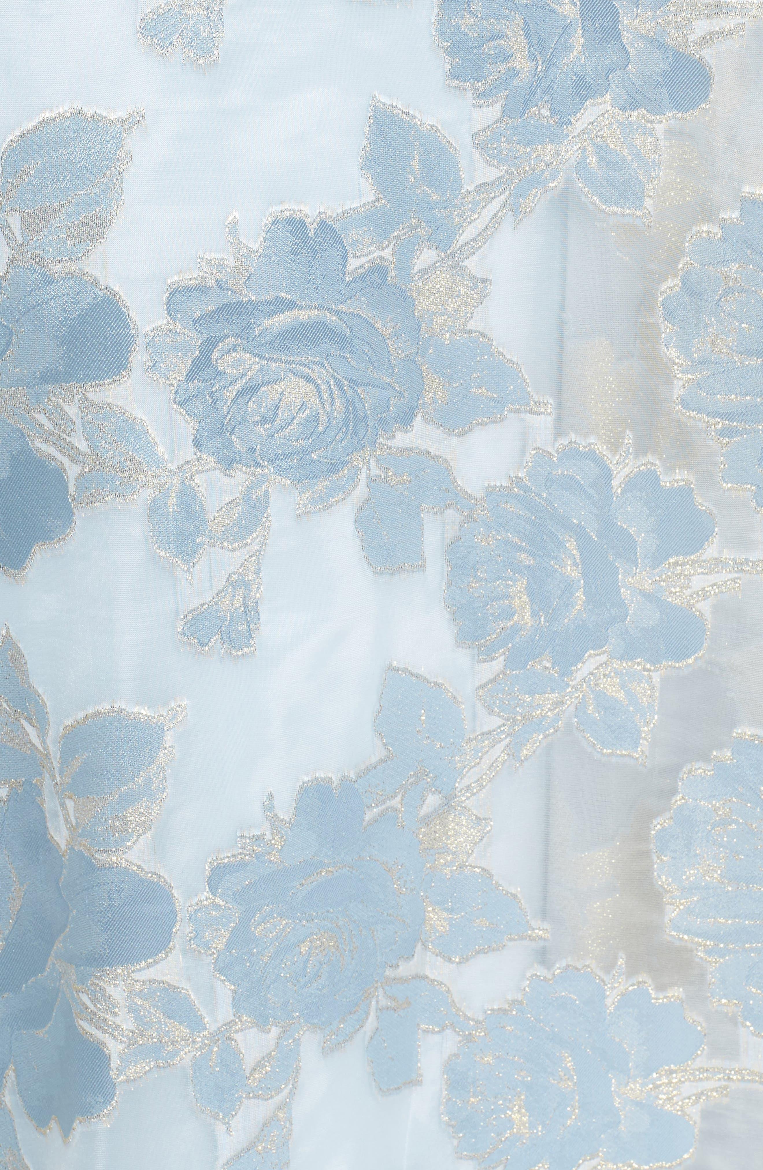 Embellished Burnout Organza Ballgown,                             Alternate thumbnail 5, color,                             Light Blue