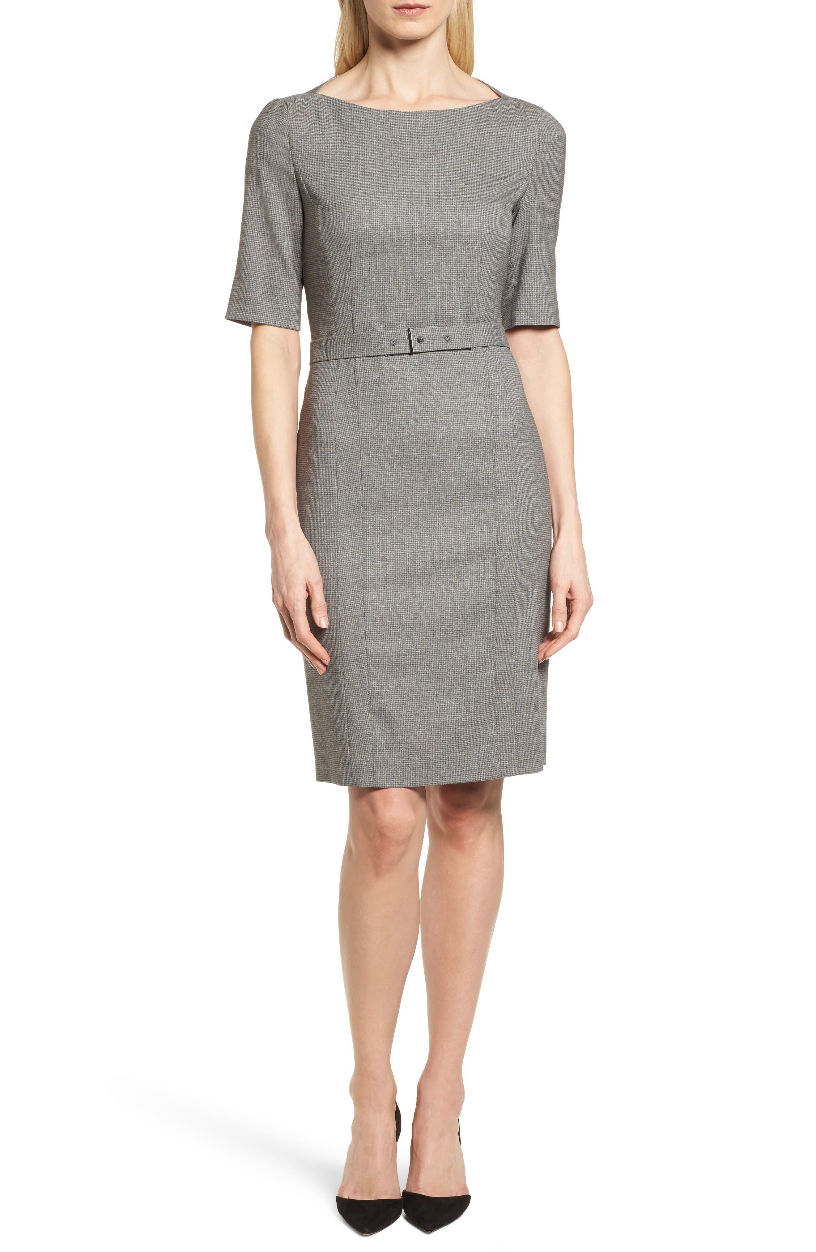 BOSS Dewisa Check Wool Sheath Dress (Regular & Petite)