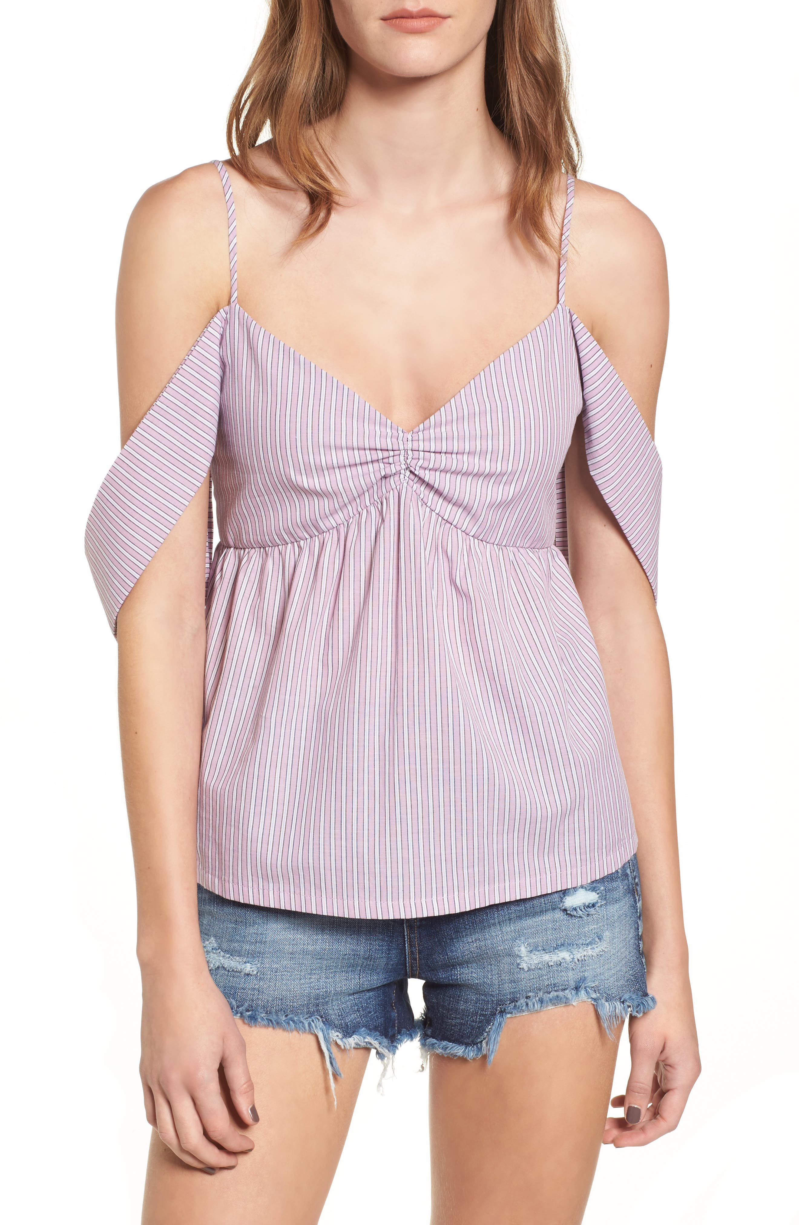 Stripe Cold Shoulder Top,                             Main thumbnail 1, color,                             Lilac/ Ivory