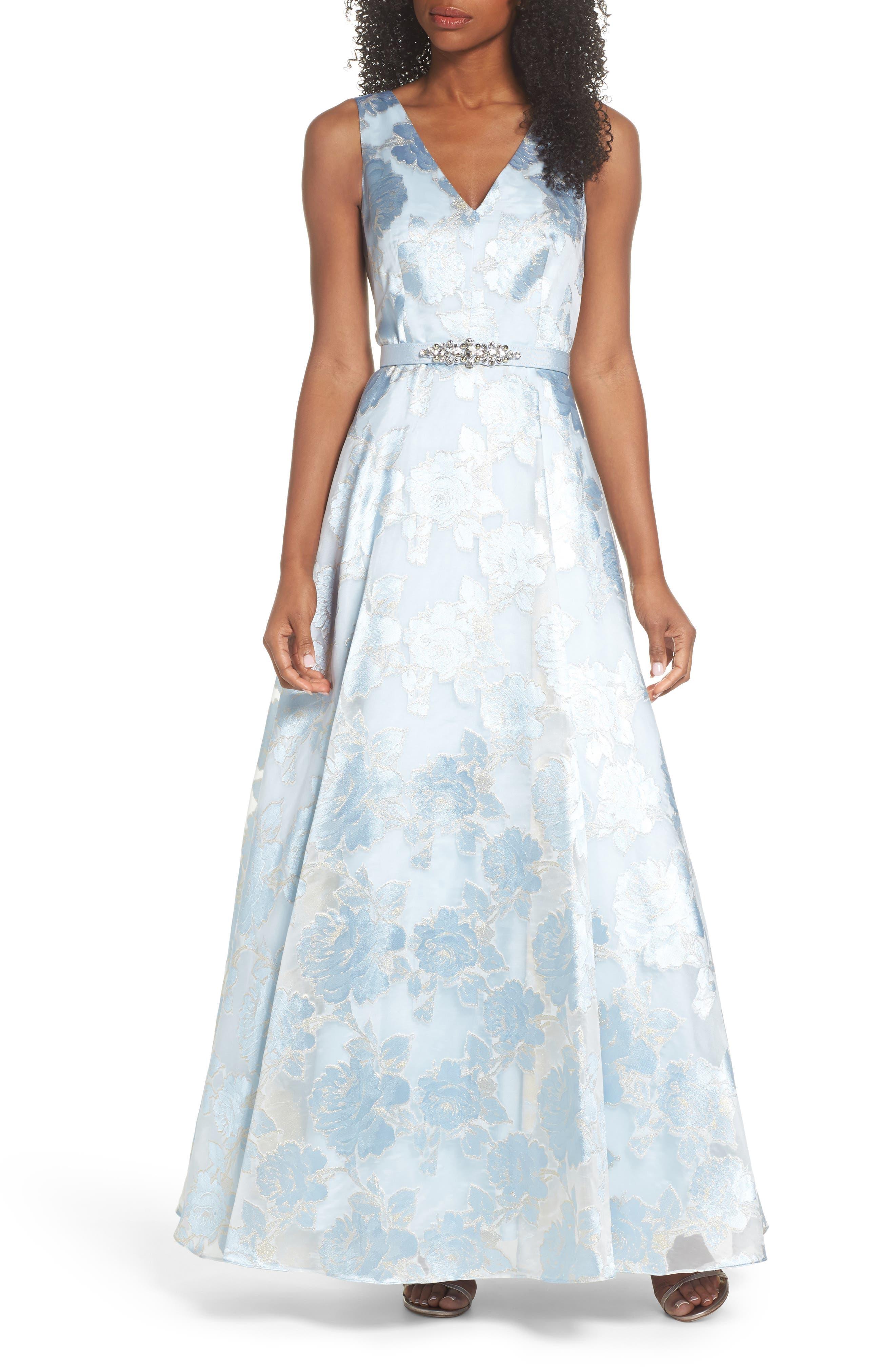 Embellished Burnout Organza Ballgown,                         Main,                         color, Light Blue
