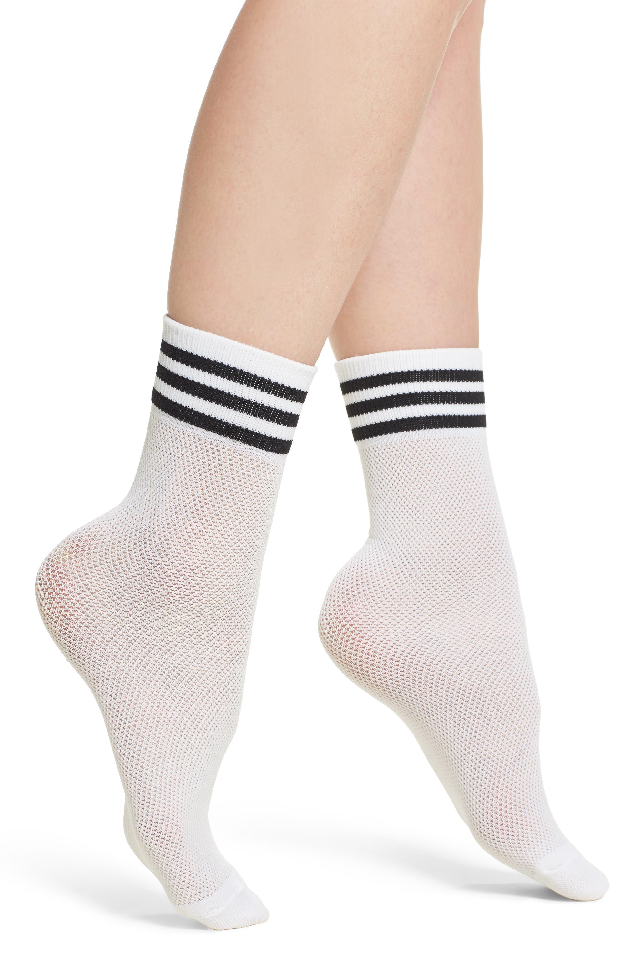 Stripe Mesh Ankle Socks,                         Main,                         color, White