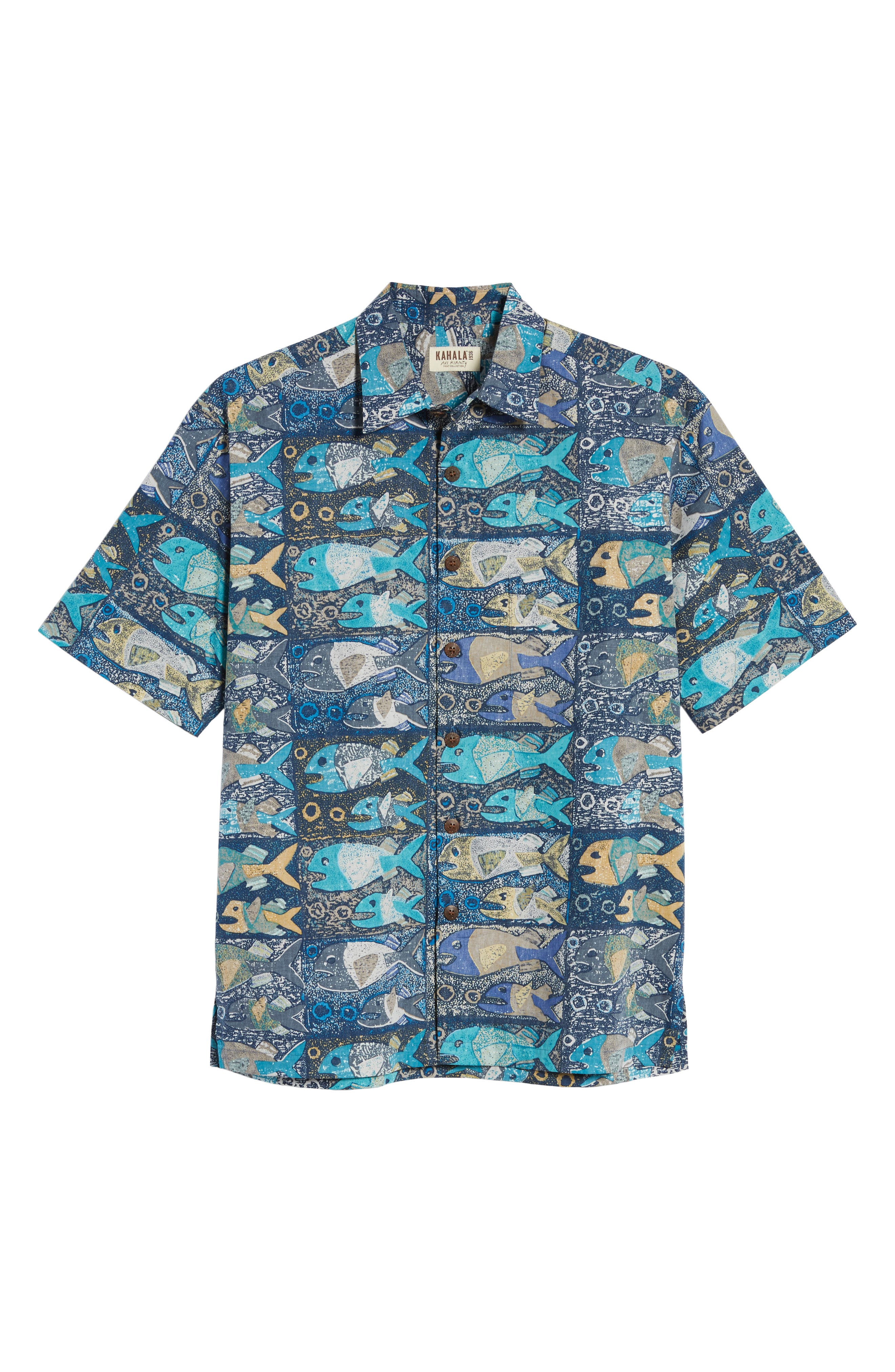 Stone Fish Print Sport Shirt,                             Alternate thumbnail 6, color,                             Navy
