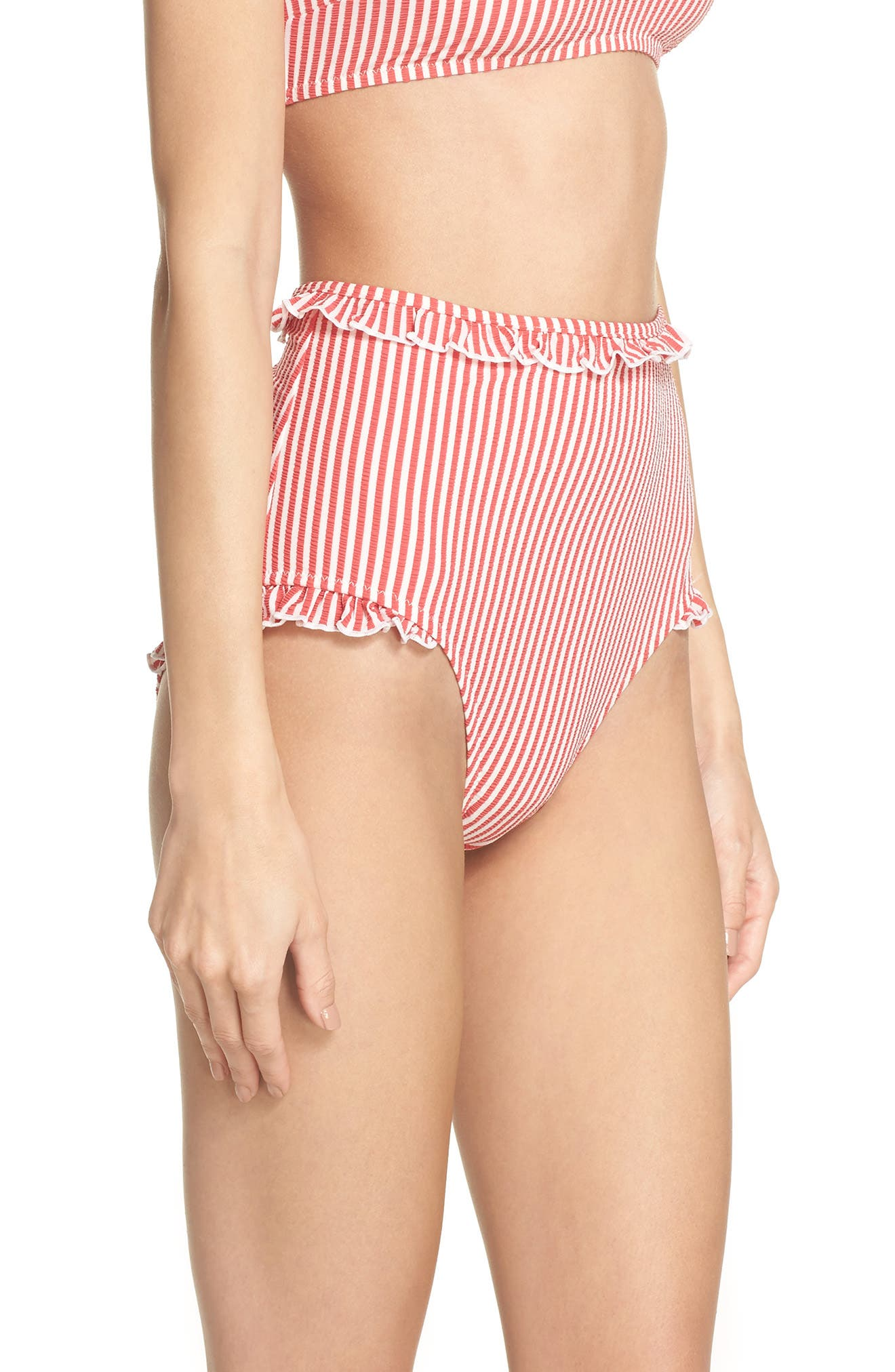 The Leslie High Waist Bikini Bottoms,                             Alternate thumbnail 3, color,                             Red