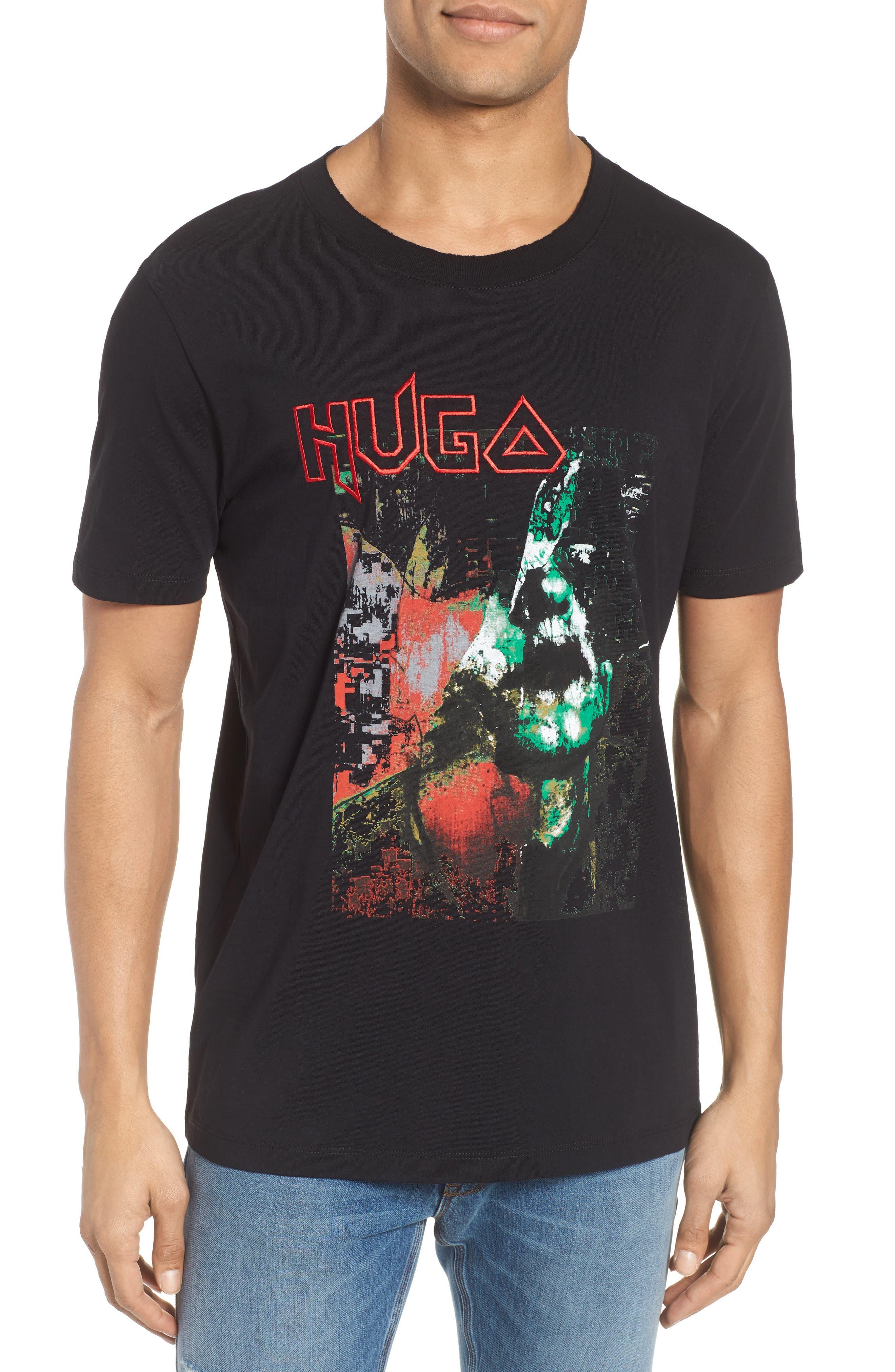 Detallic Embroidered Graphic T-Shirt,                             Main thumbnail 1, color,                             Black
