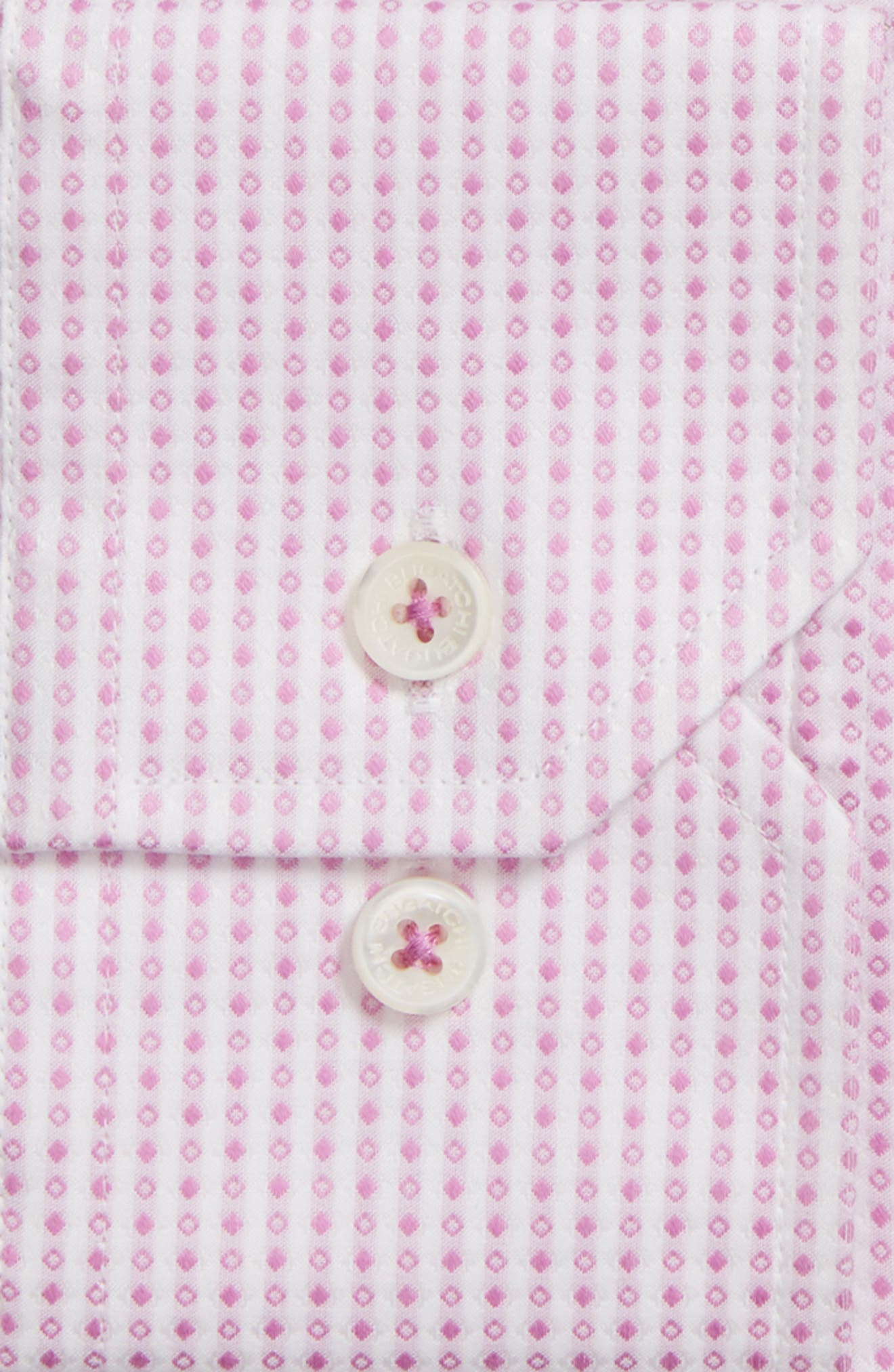 Shaped Fit Geometric Dress Shirt,                             Alternate thumbnail 2, color,                             Pink