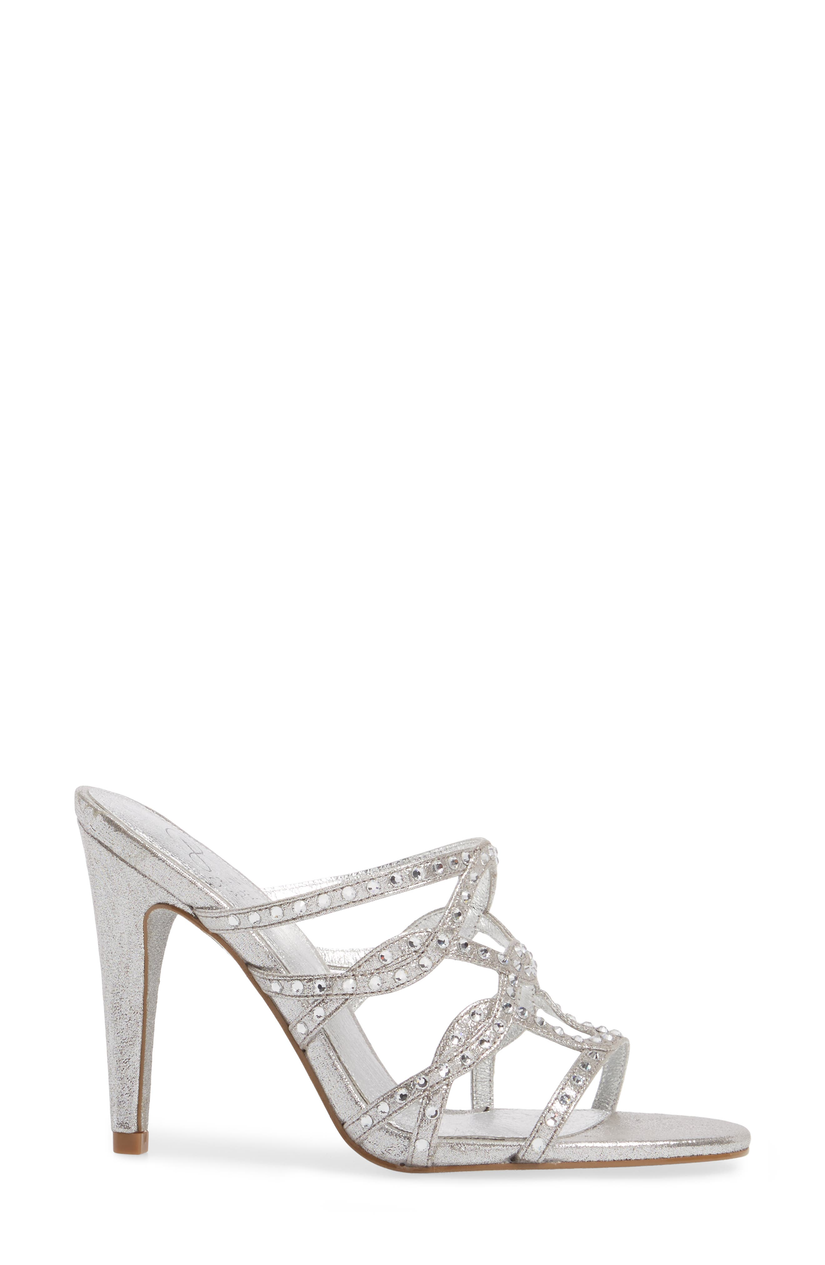 Emma Strappy Sandal,                             Alternate thumbnail 3, color,                             Silver Fabric