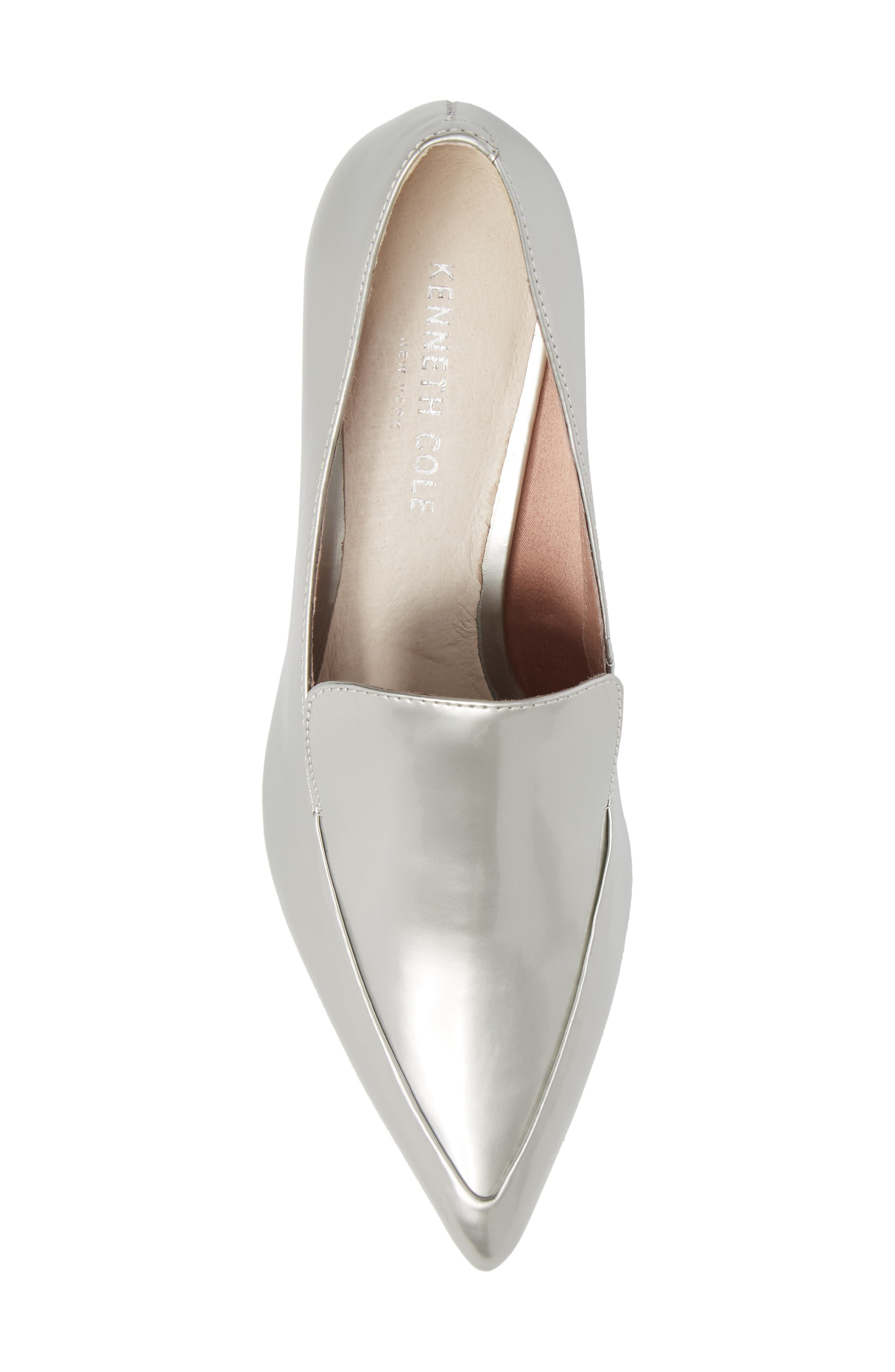 Shea Loafer Pump,                             Alternate thumbnail 5, color,                             Silver Metallic Leather