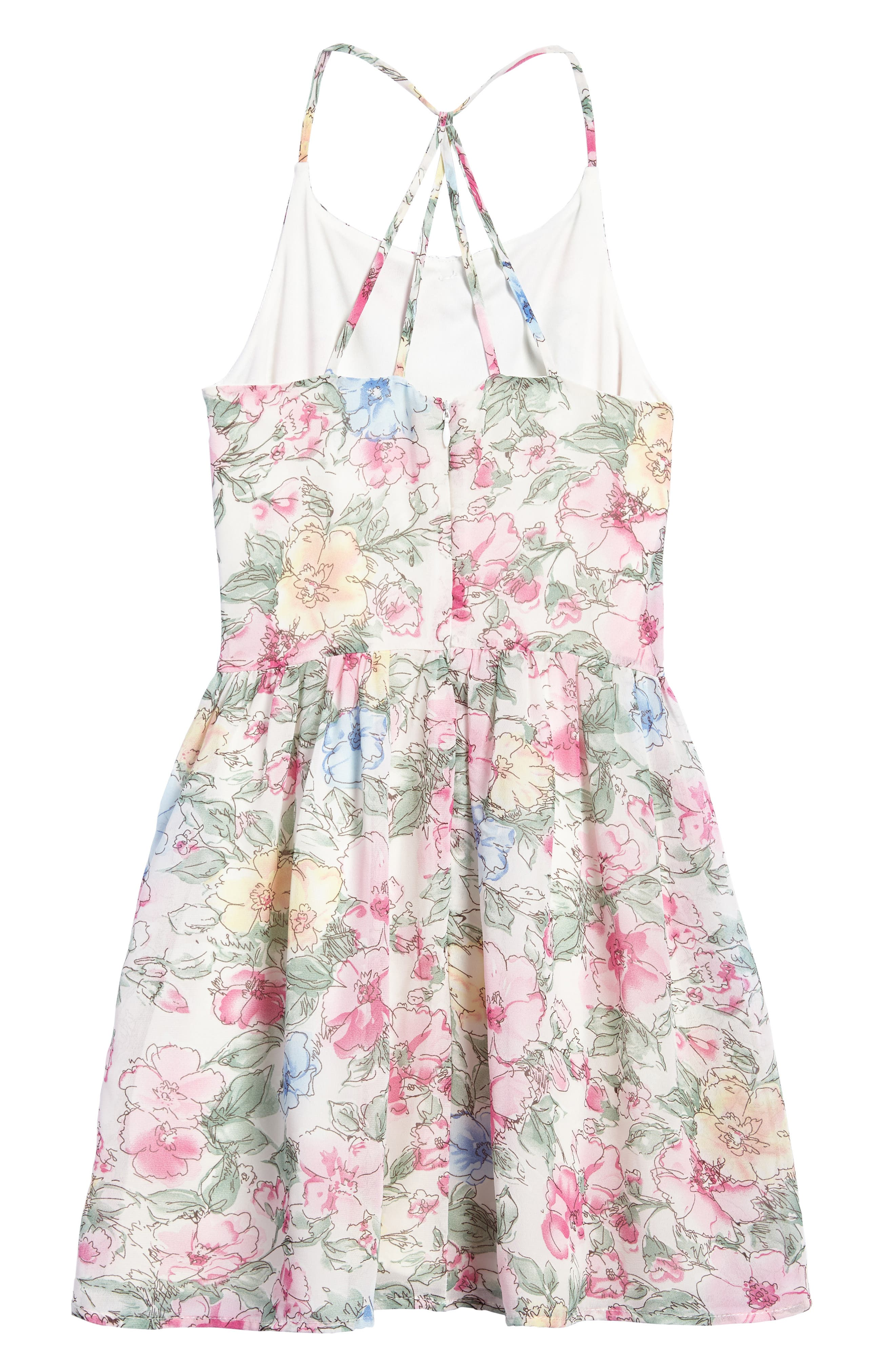 Painted Floral Dress,                             Alternate thumbnail 2, color,                             Pink Multi