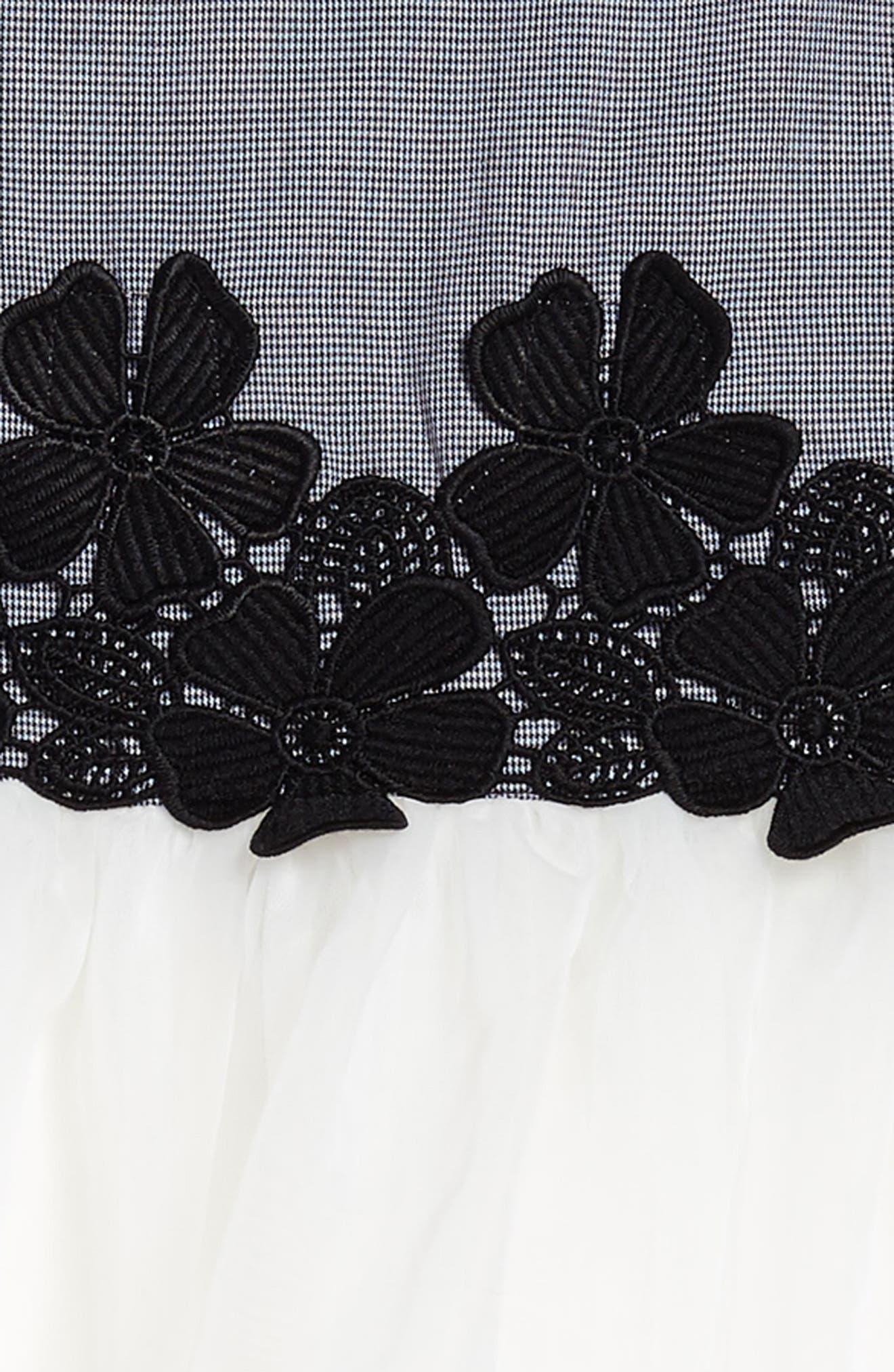 Mini Houndstooth & Tulle Dress,                             Alternate thumbnail 3, color,                             Black/ White