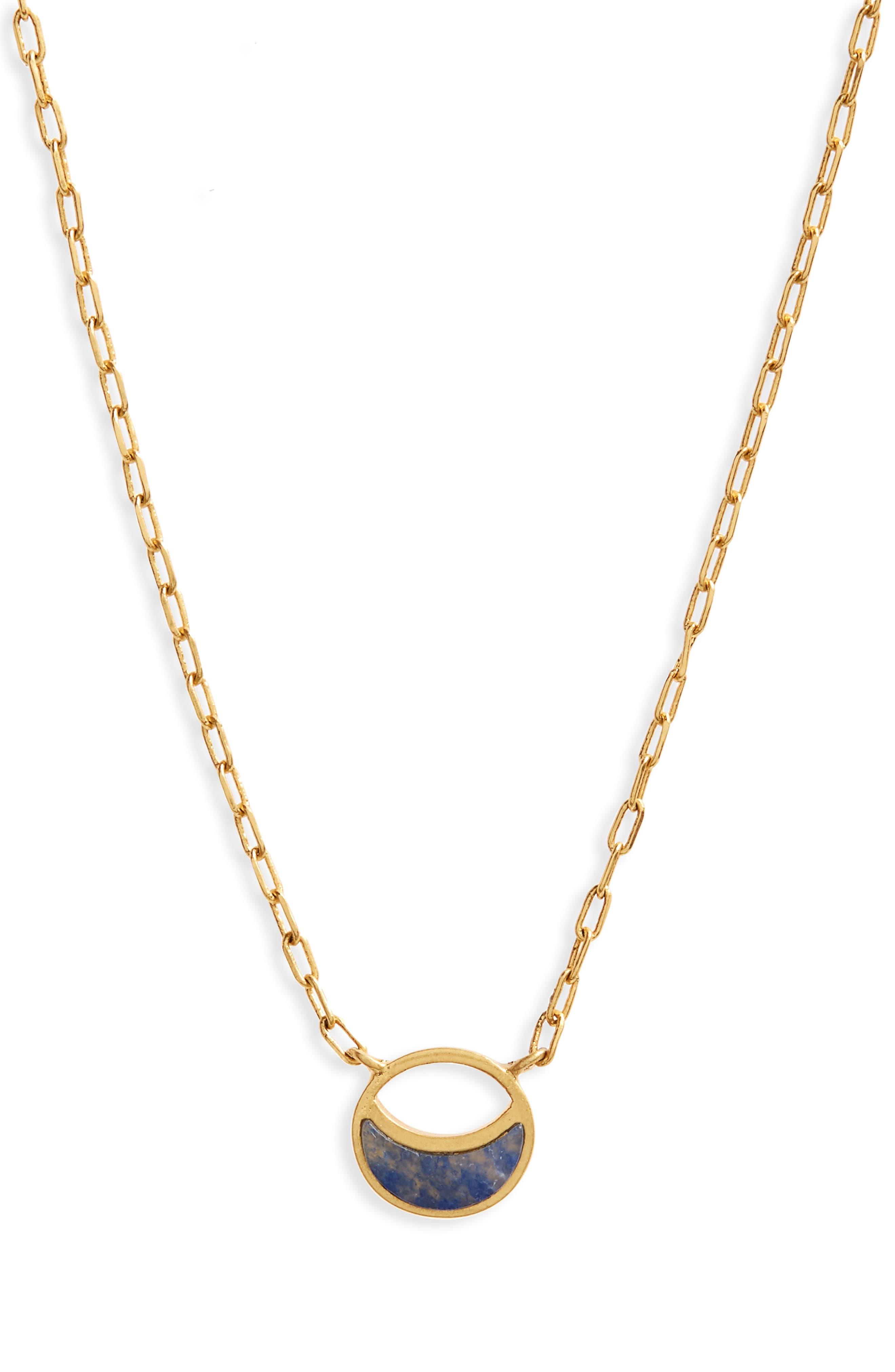 Delicate Crescent Pendant Necklace,                             Main thumbnail 1, color,                             Vintage Gold