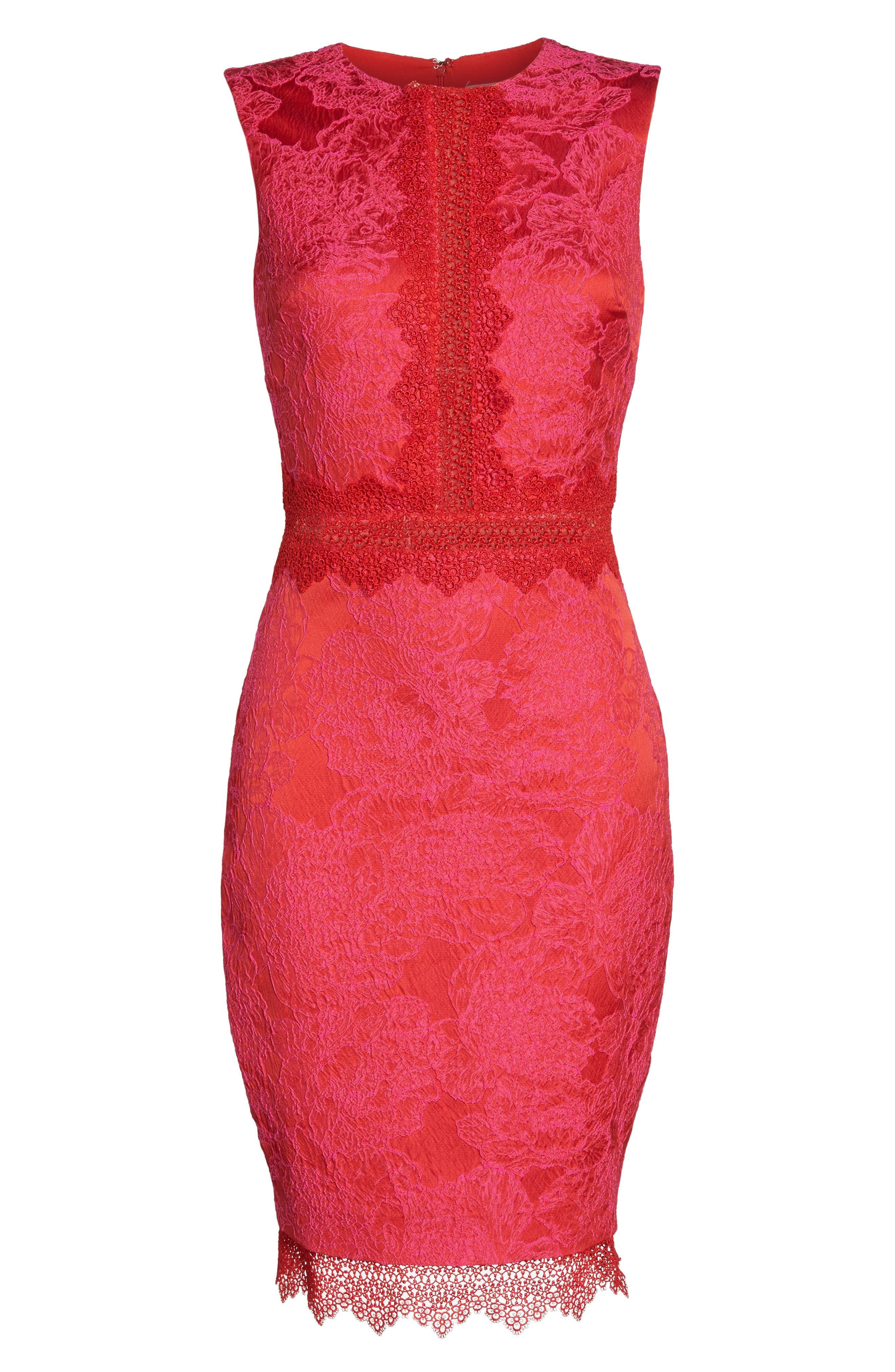 Lace Panel Sheath Dress,                             Alternate thumbnail 6, color,                             Red Multi