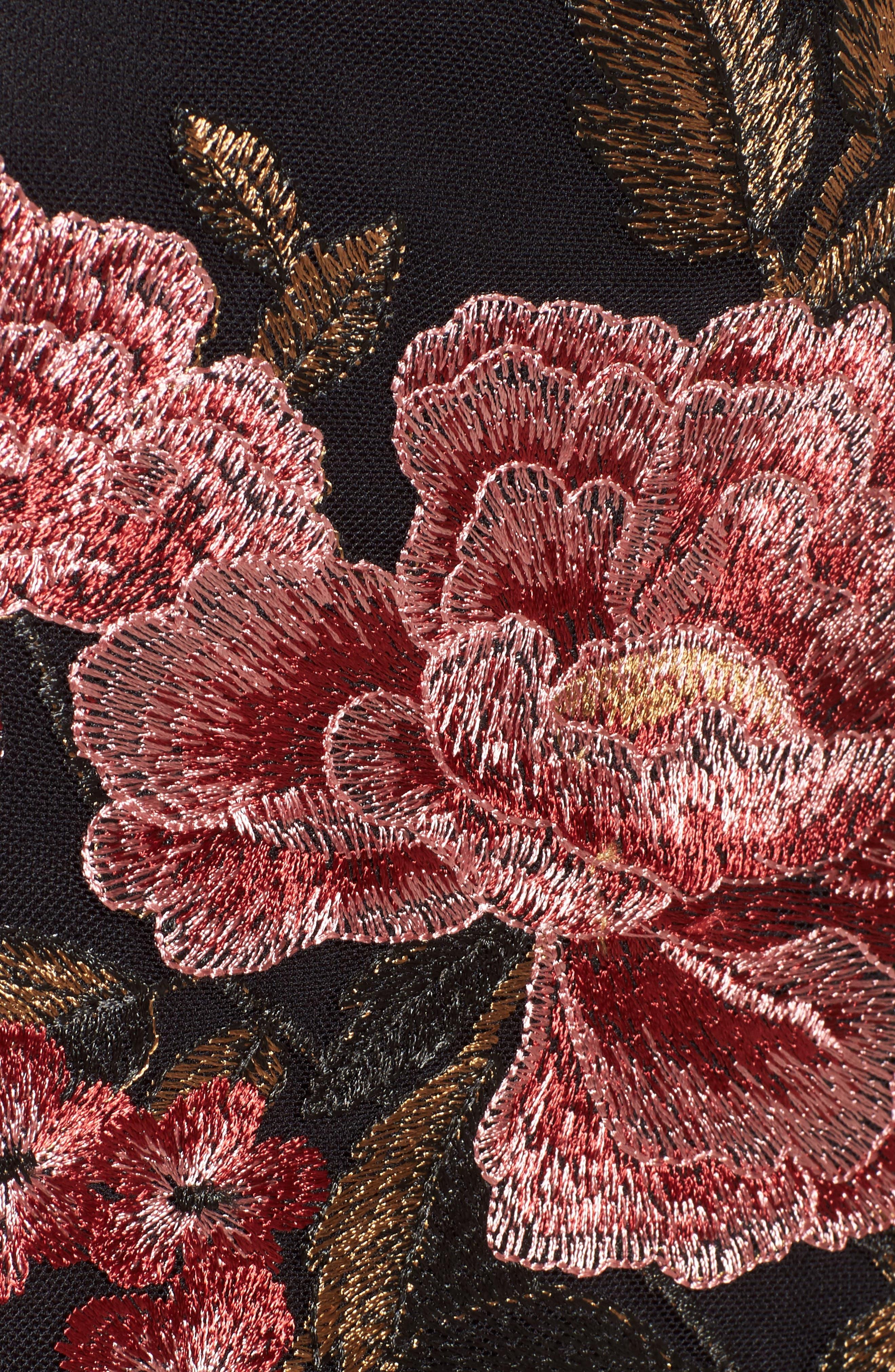 Sunset Embroidered Skirt,                             Alternate thumbnail 6, color,                             Black/ Rose