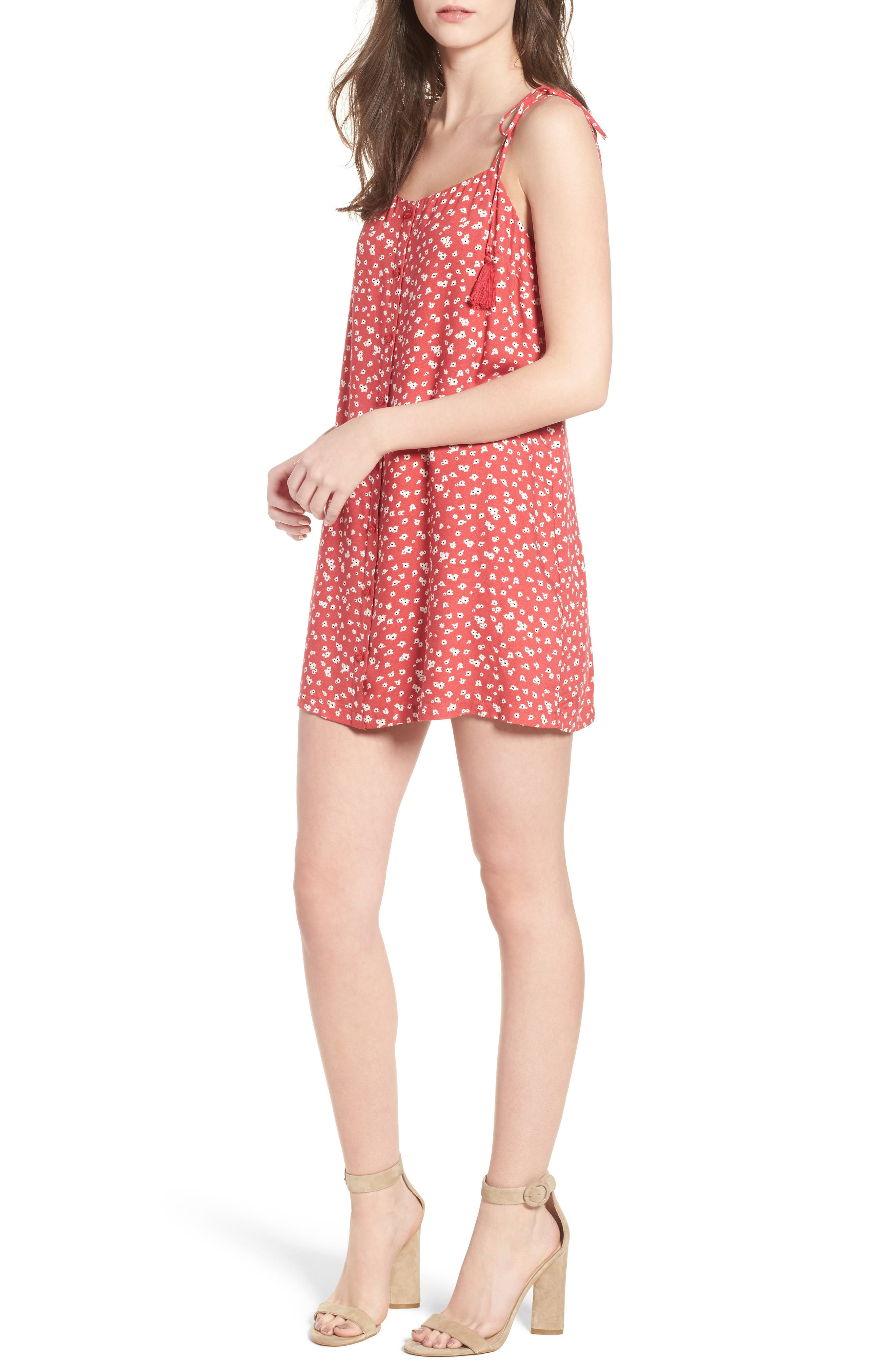 Button Down Minidress,                         Main,                         color, Red-Ivory