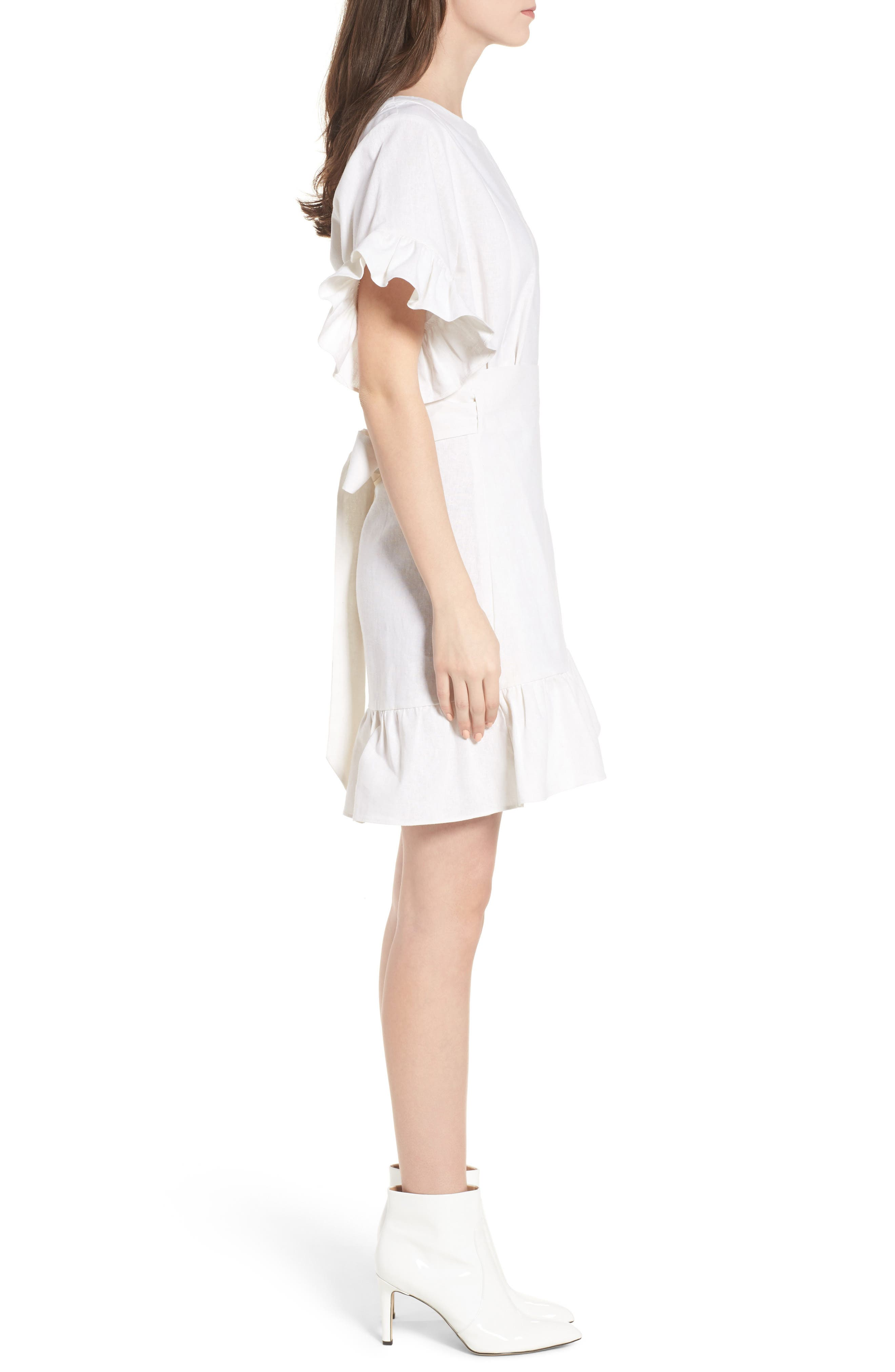 Ruffle Faux Wrap Dress,                             Alternate thumbnail 3, color,                             Ivory