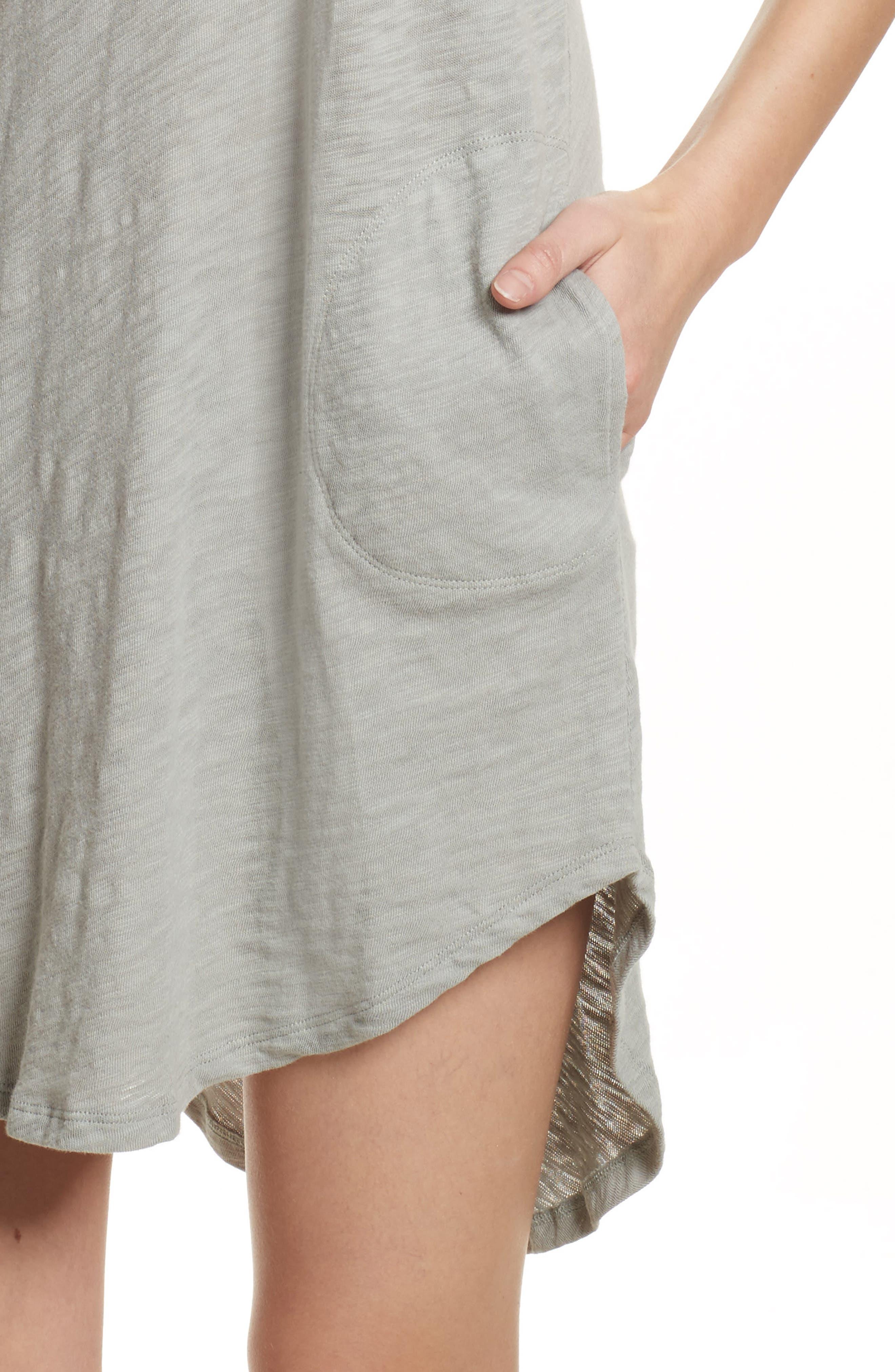 Cotton Trapeze Tank Dress,                             Alternate thumbnail 5, color,                             Pale Moss