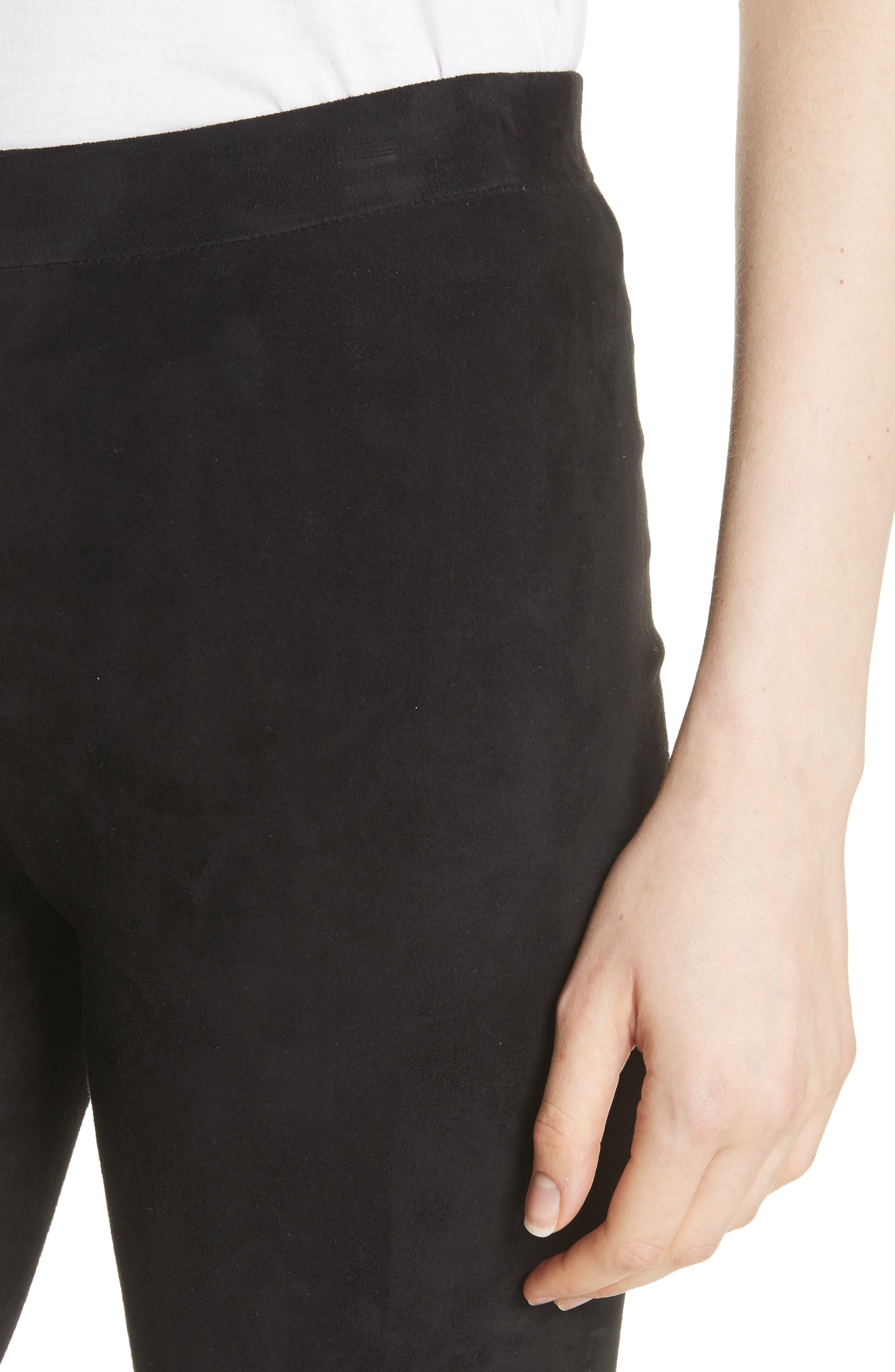 Suede Ankle Zip Leggings,                             Alternate thumbnail 4, color,                             Black
