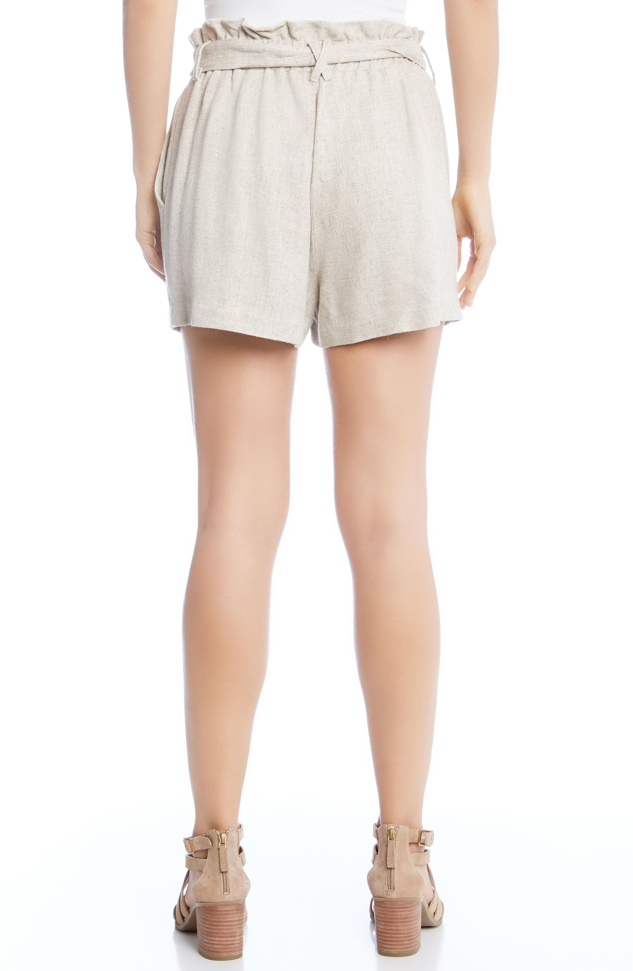 Paperbag Waist Shorts,                             Alternate thumbnail 3, color,                             Tan