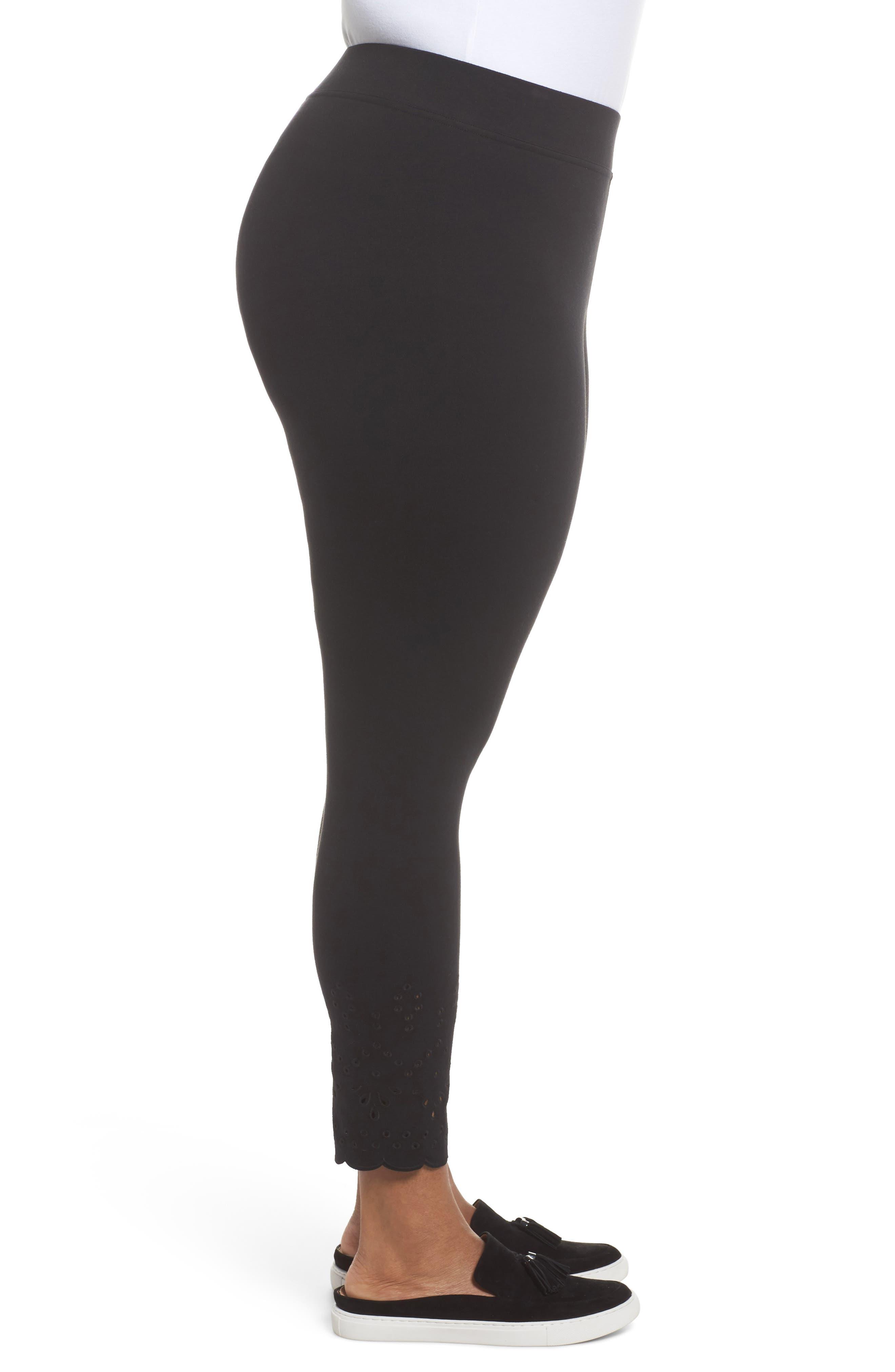 Eyelet Skimmer Leggings,                             Alternate thumbnail 3, color,                             Black