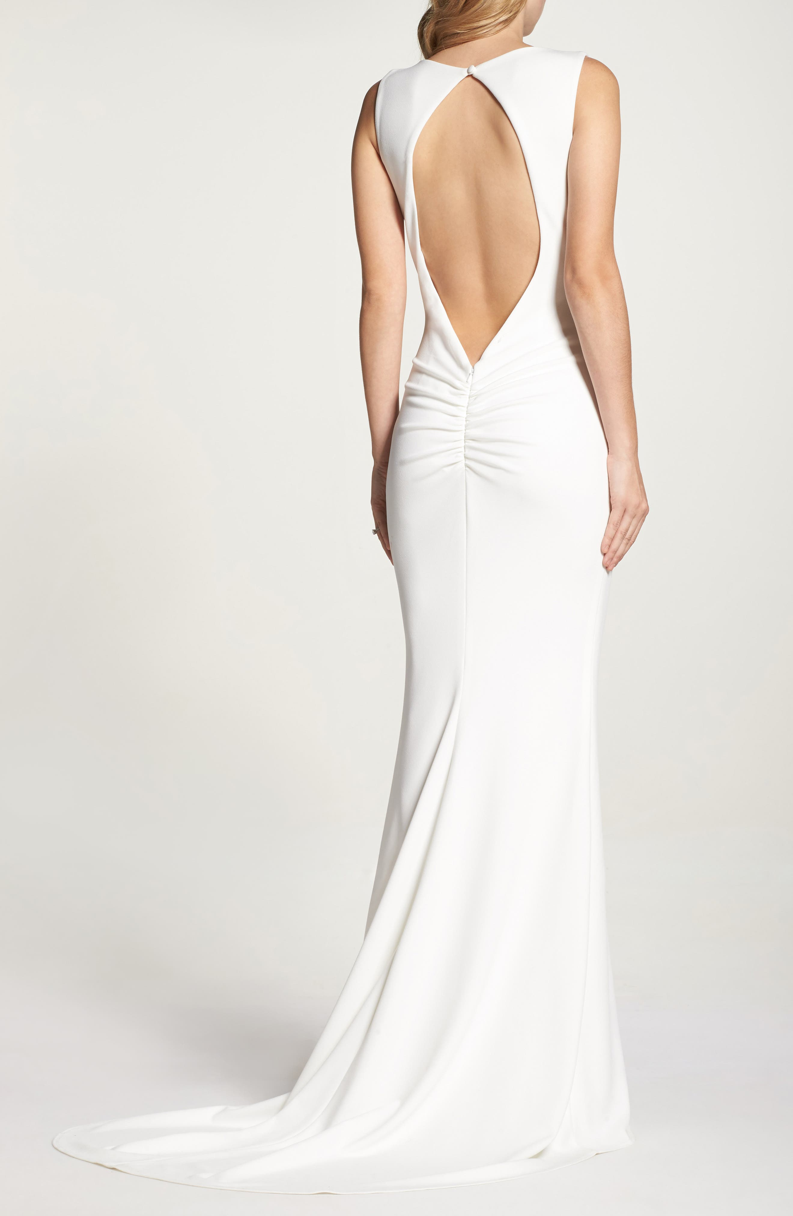 Low Back Crepe Mermaid Gown,                             Alternate thumbnail 8, color,                             Ivory