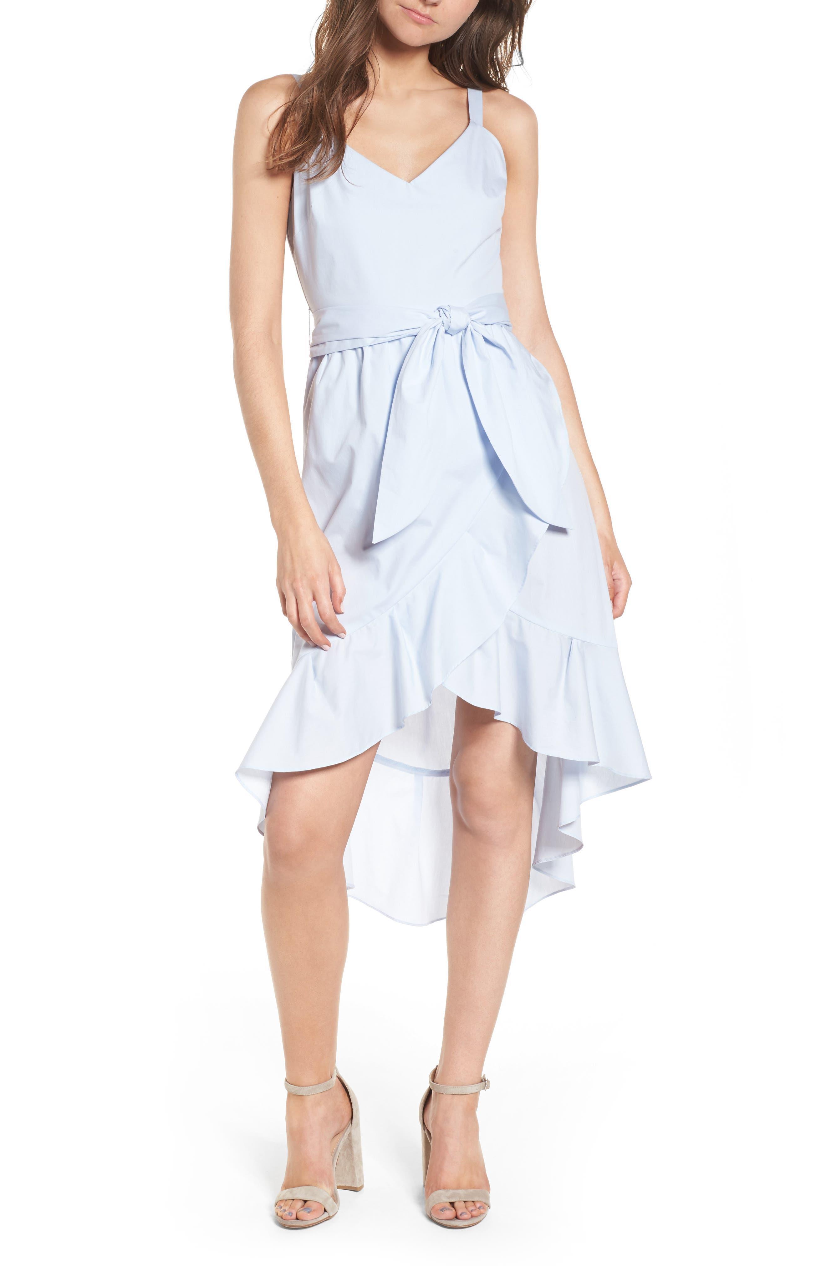 Poplin Tie Waist Dress,                             Main thumbnail 1, color,                             Pale Blue