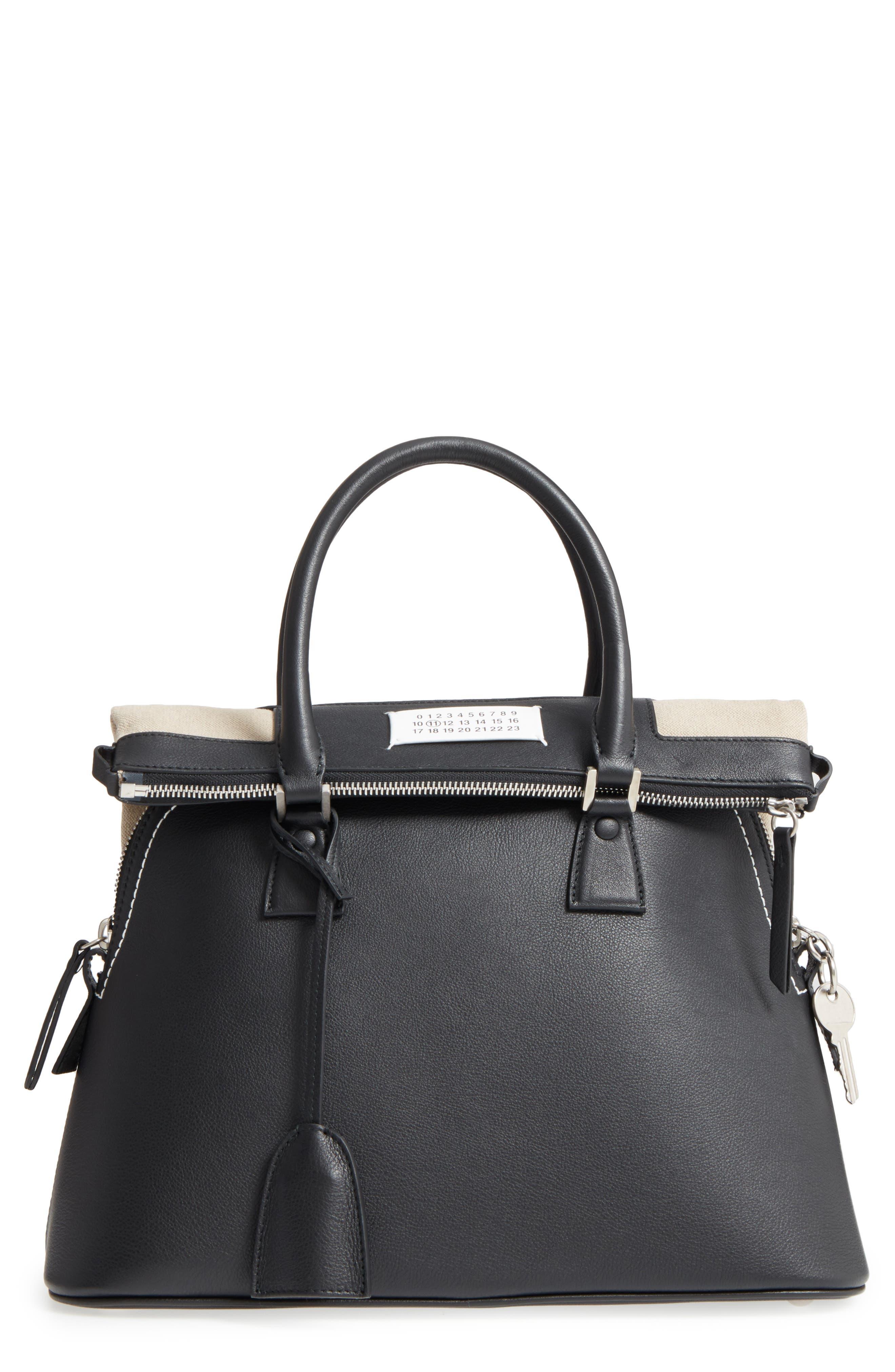 Medium 5AC Leather Handbag,                             Main thumbnail 1, color,                             Black