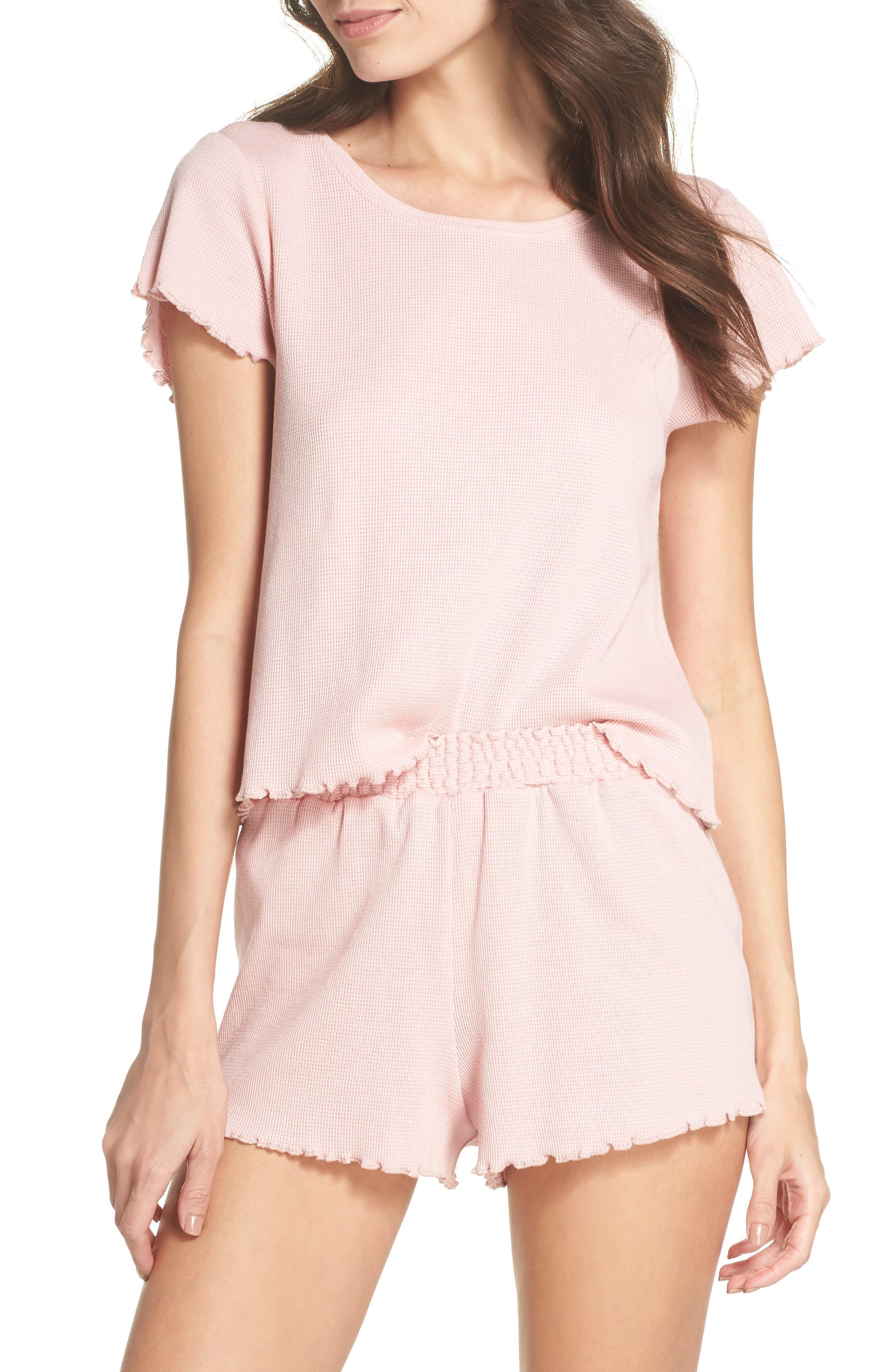 Thermal Short Pajamas,                             Main thumbnail 1, color,                             Pink Silver