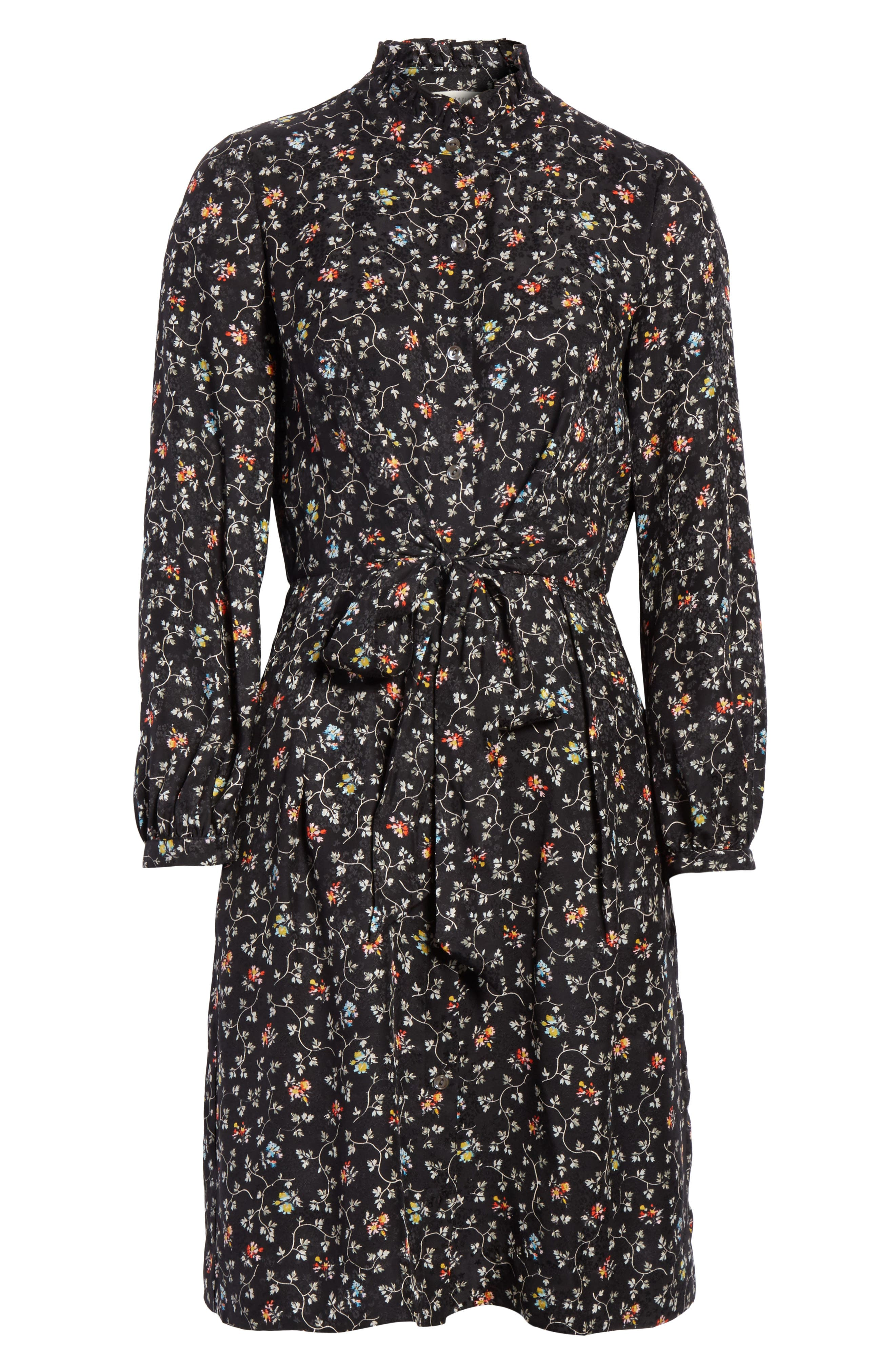 Floral Vine Silk Shirtdress,                             Alternate thumbnail 6, color,                             Black Vine Print