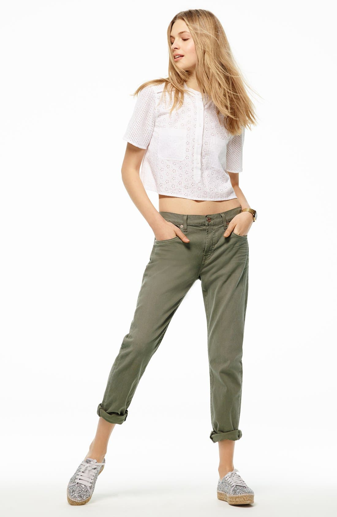 Alternate Image 6  - 7 For All Mankind® Relaxed Skinny Jeans (Fatigue)