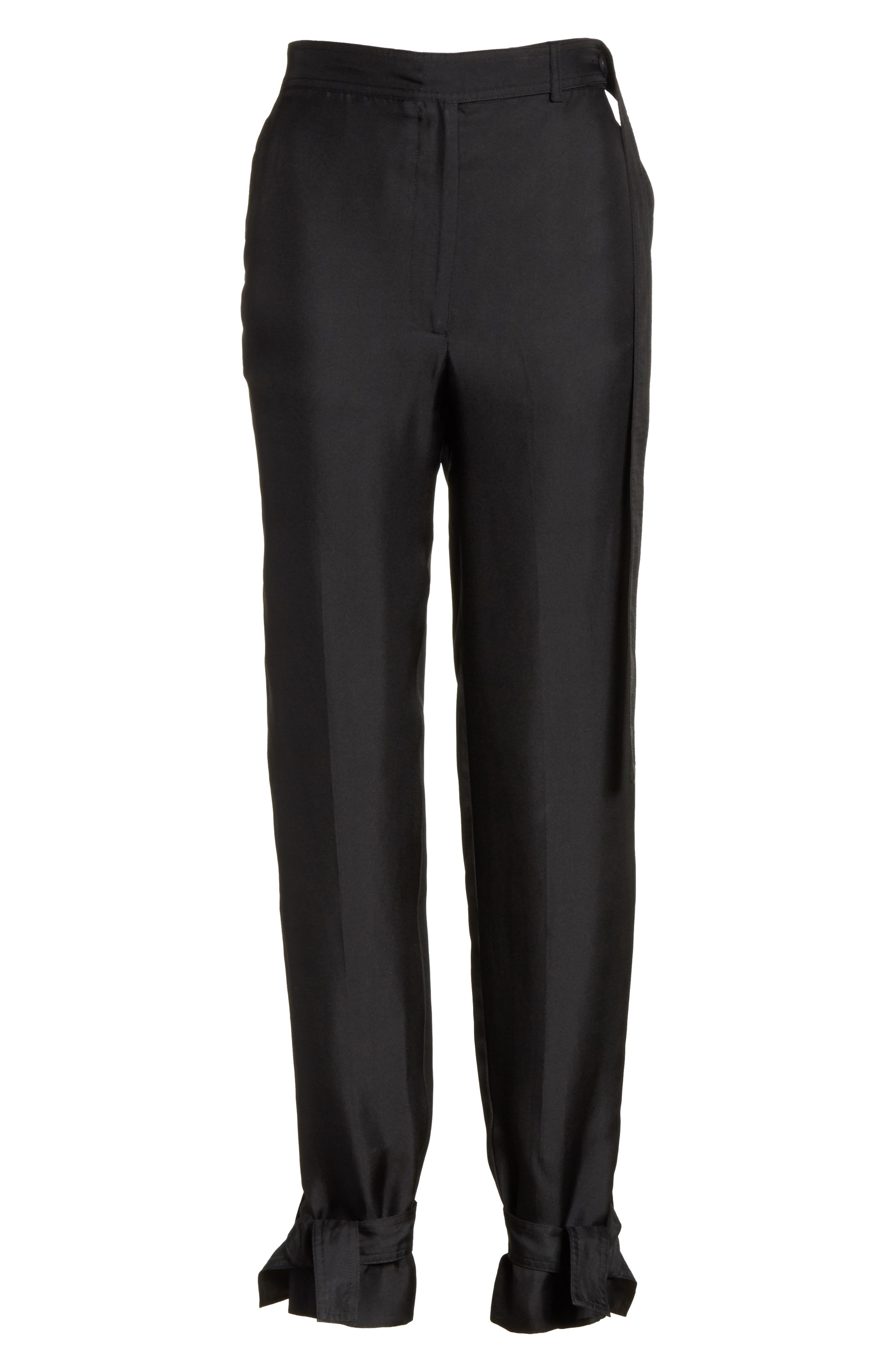 Tie Cuff Silk Pants,                             Alternate thumbnail 7, color,                             Black