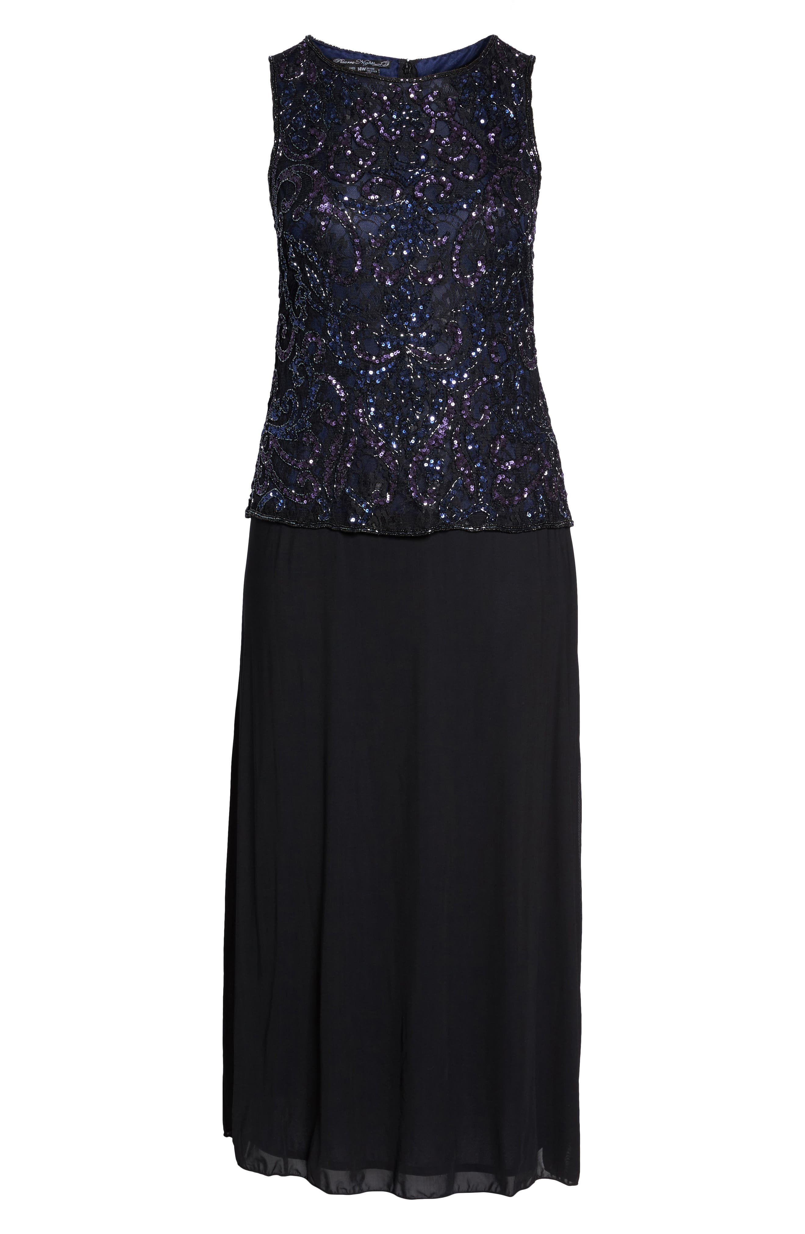 Embellished Mock Two-Piece Gown,                             Alternate thumbnail 6, color,                             Black