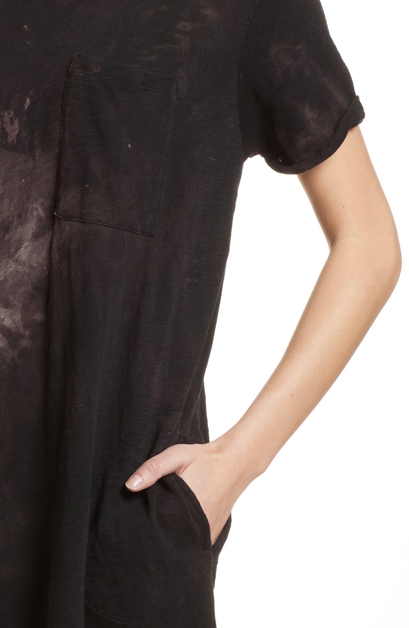 Tie Dye Jersey T-Shirt Dress,                             Alternate thumbnail 4, color,                             Black Tie Die