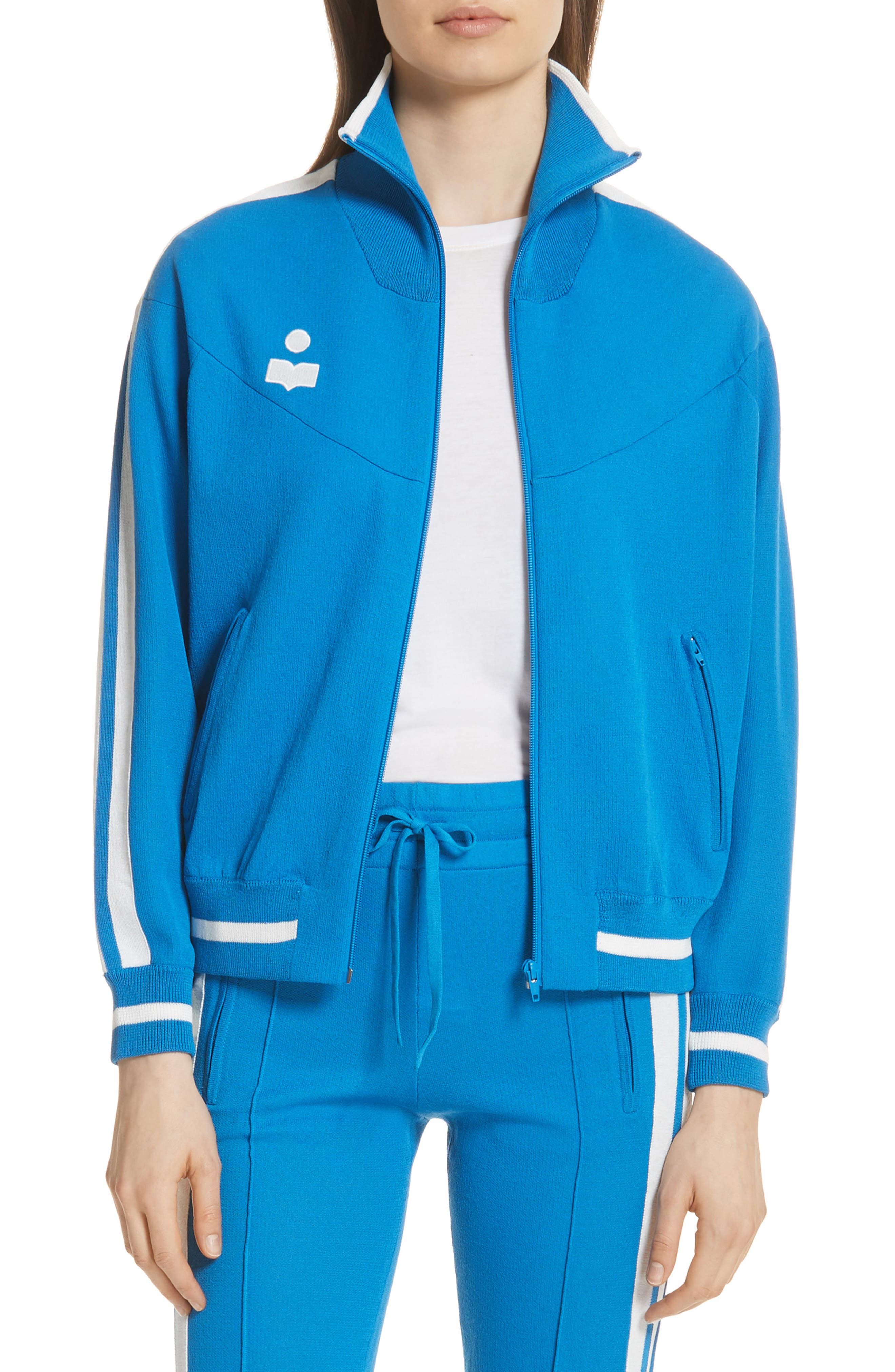 Isabel Marant Étoile Darcy Track Jacket,                             Main thumbnail 1, color,                             Electric Blue