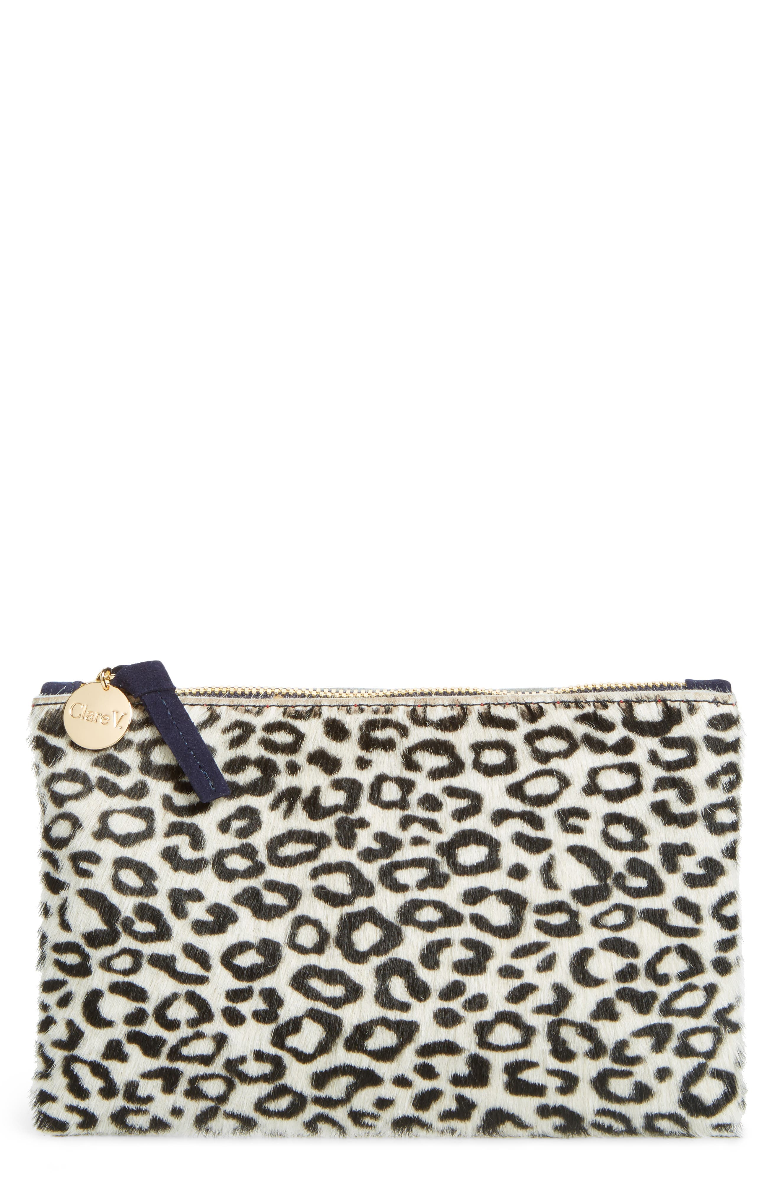 Main Image - Clare V. Ocelot Print Genuine Calf Hair Wallet Clutch