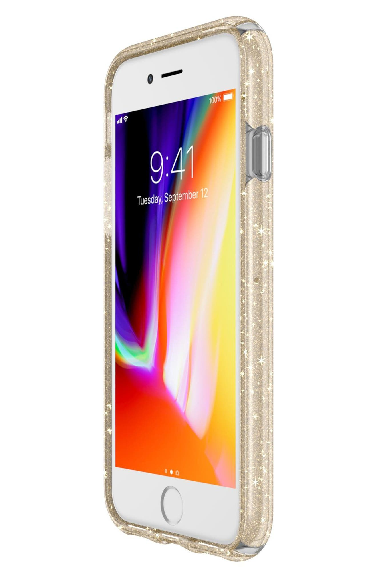 iPhone 6/6s/7/8 Case,                             Alternate thumbnail 7, color,                             Clear With Gold Glitter/ Clear
