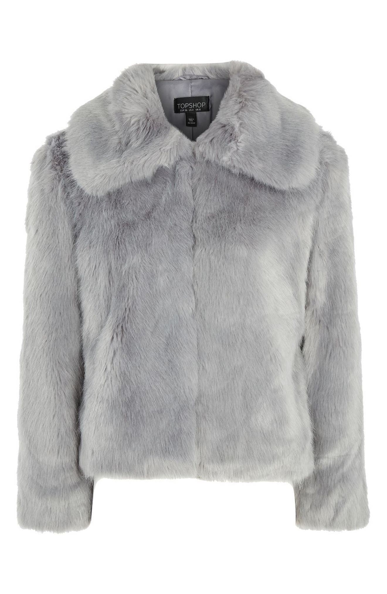 Claire Faux Fur Coat,                             Alternate thumbnail 5, color,                             Dark Grey