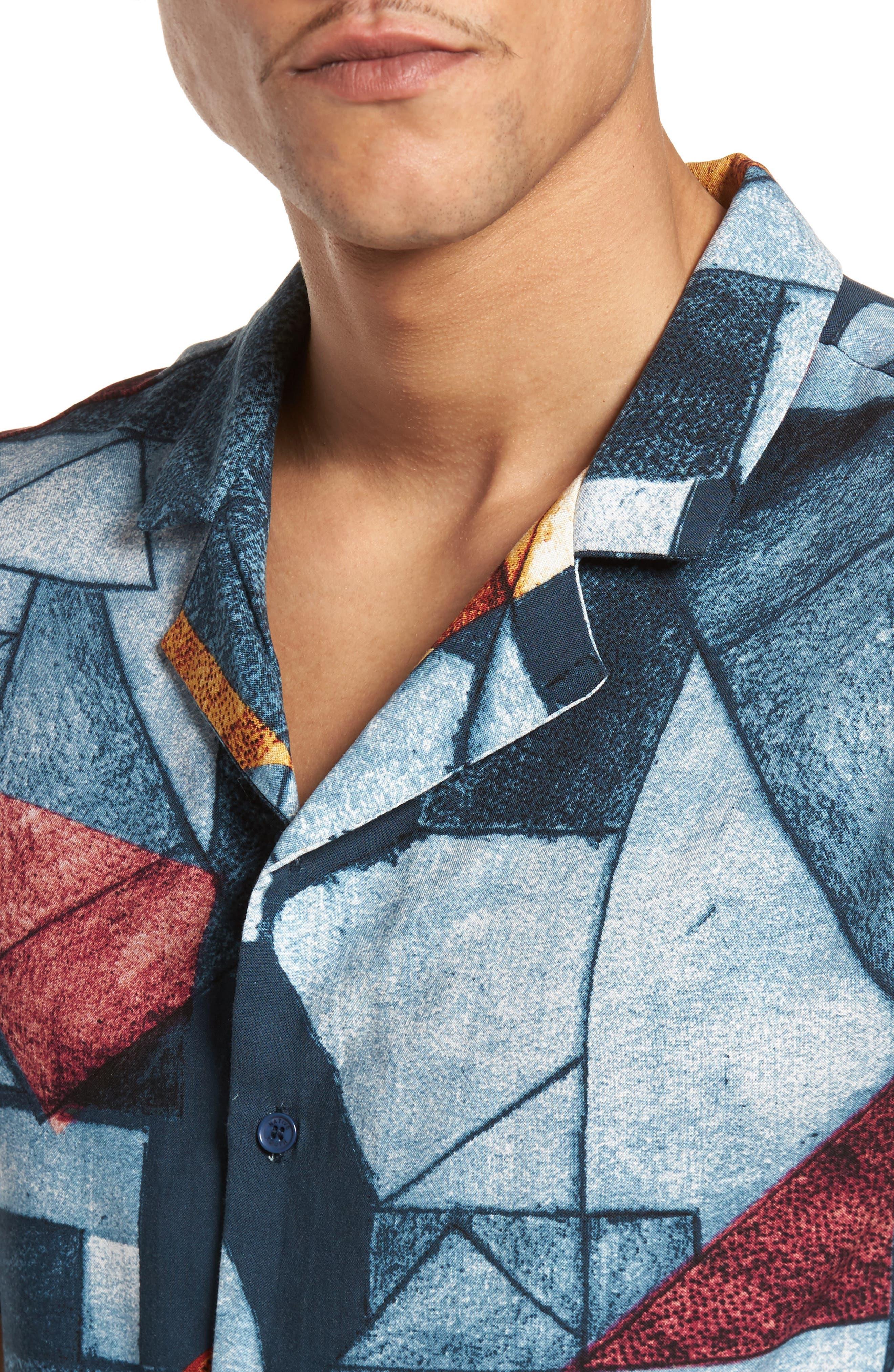 Olio Etch Woven Shirt,                             Alternate thumbnail 4, color,                             Indigo