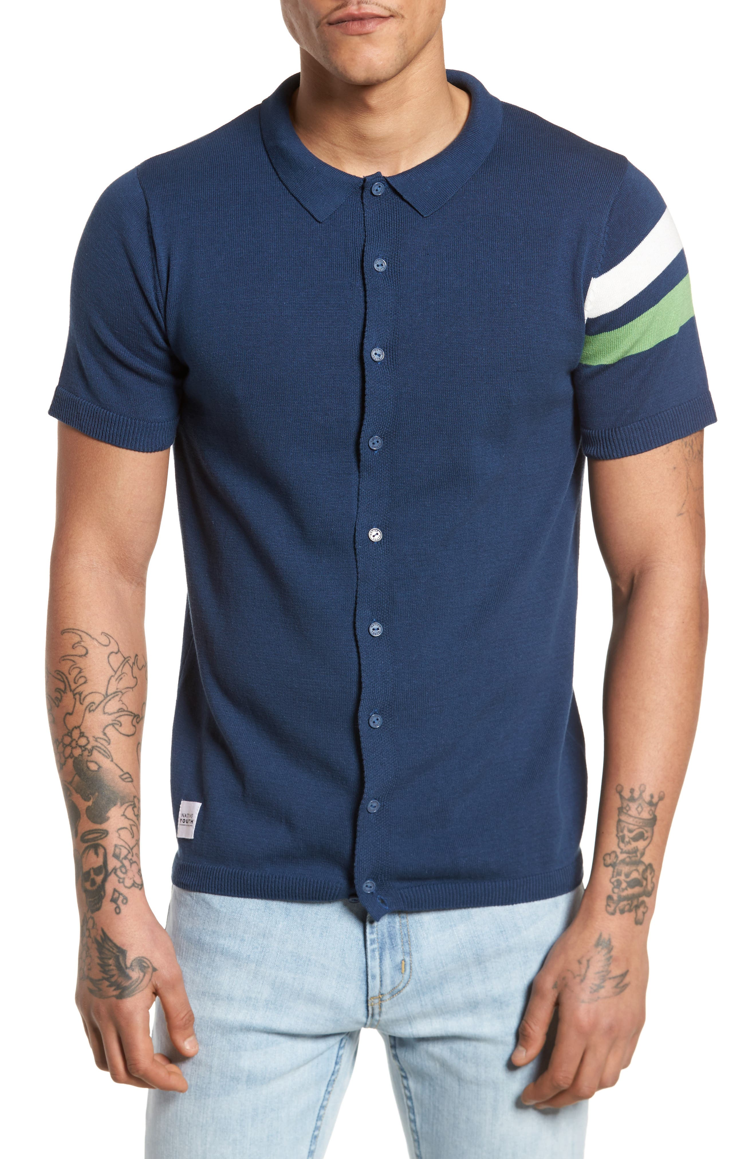 Abyss Knit Shirt,                         Main,                         color, Navy