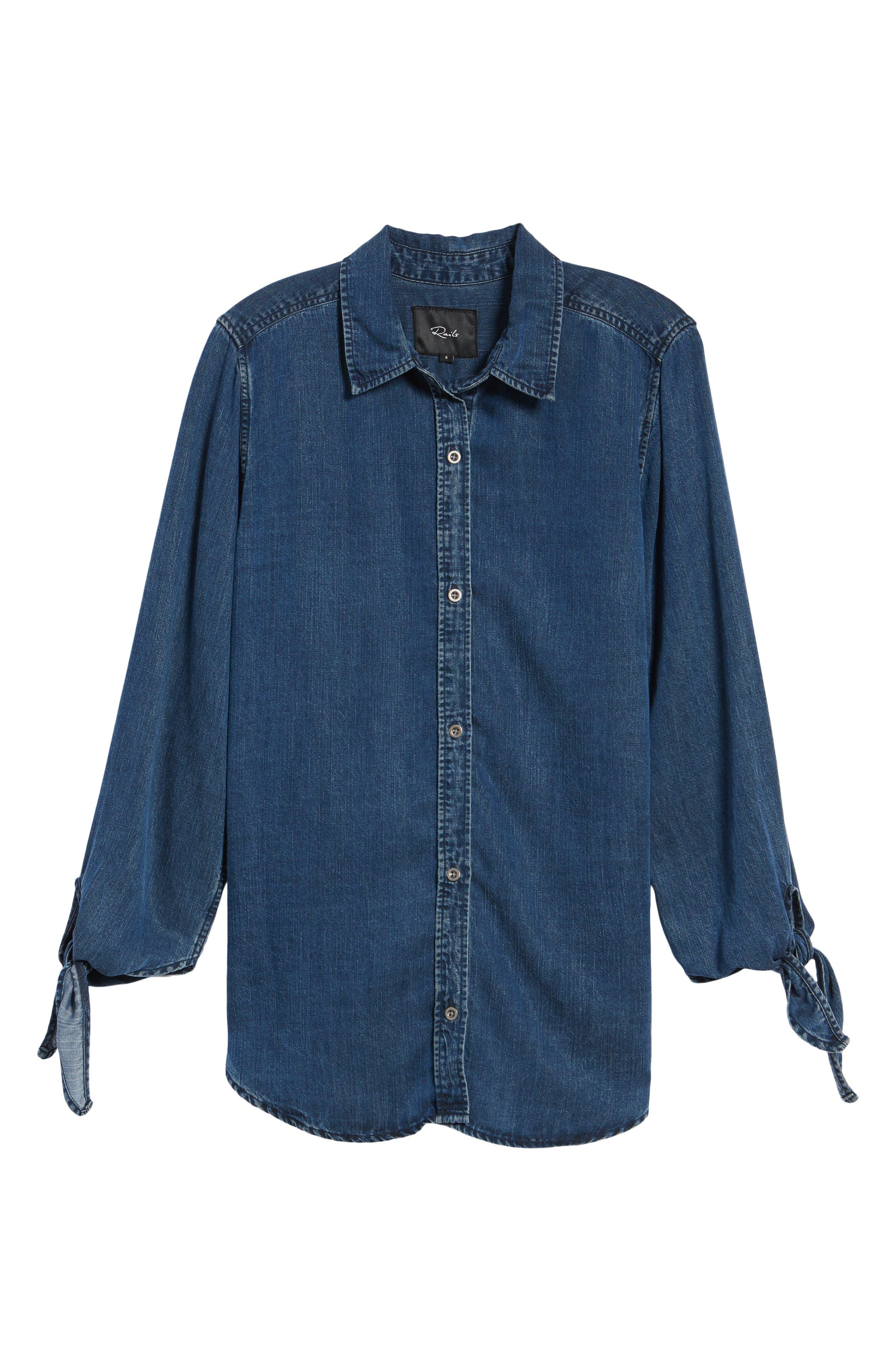 Bethany Tie Cuff Denim Shirt,                             Alternate thumbnail 6, color,                             Dark Vintage Wash