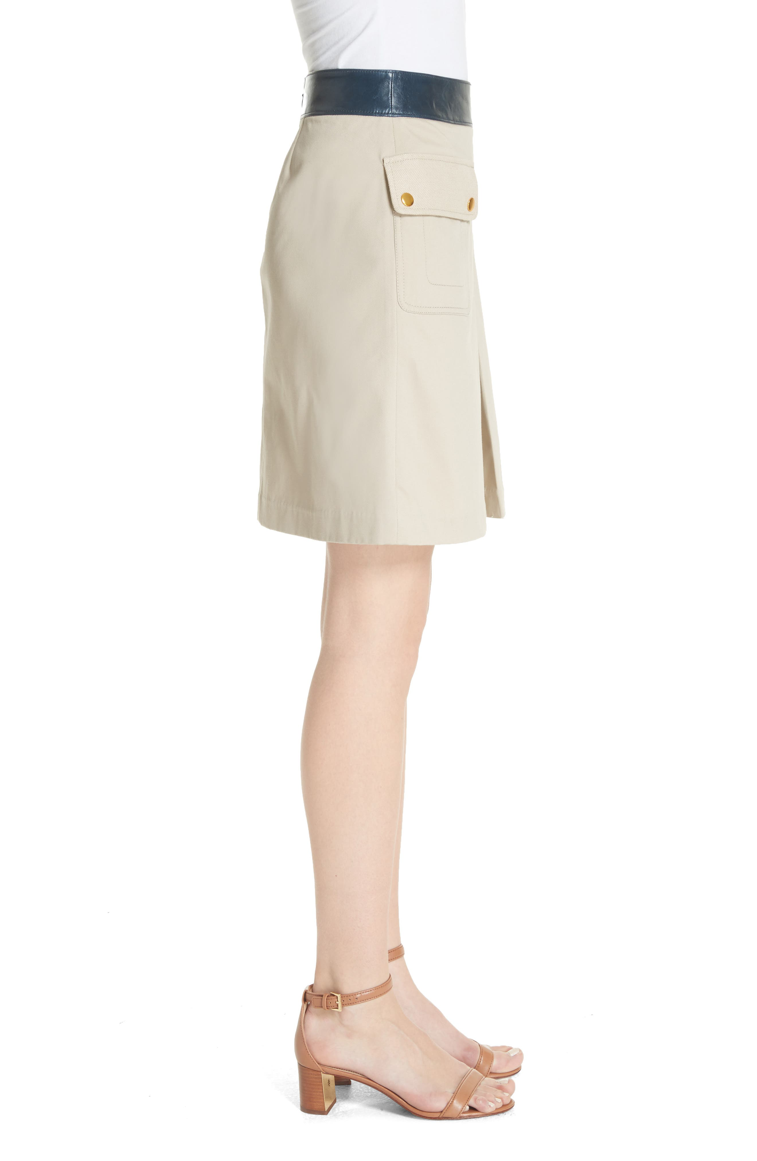 Parker Leather Trim Skirt,                             Alternate thumbnail 3, color,                             Safari