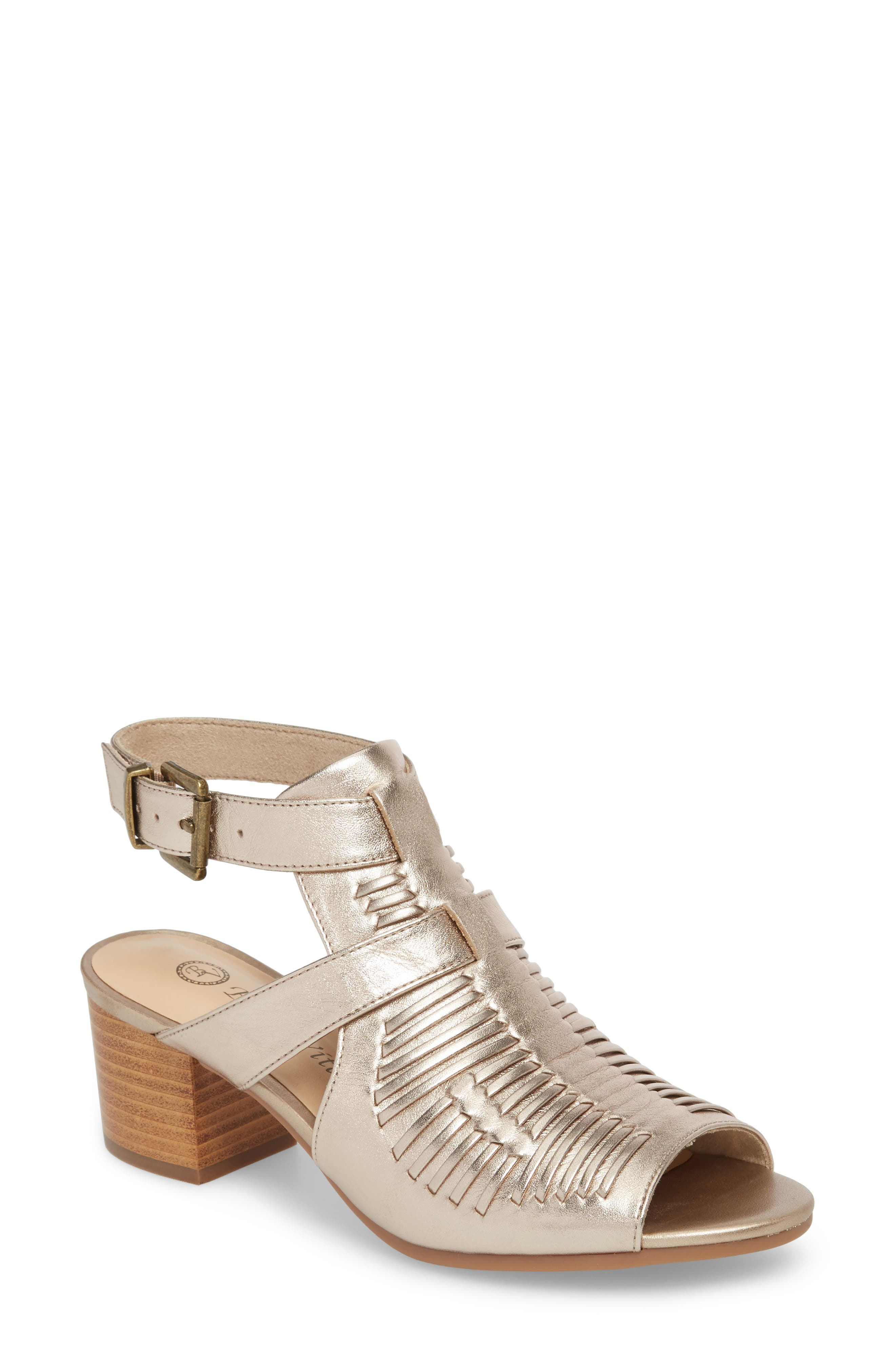 Finley Ankle Strap Sandal,                         Main,                         color, Champagne Fabric