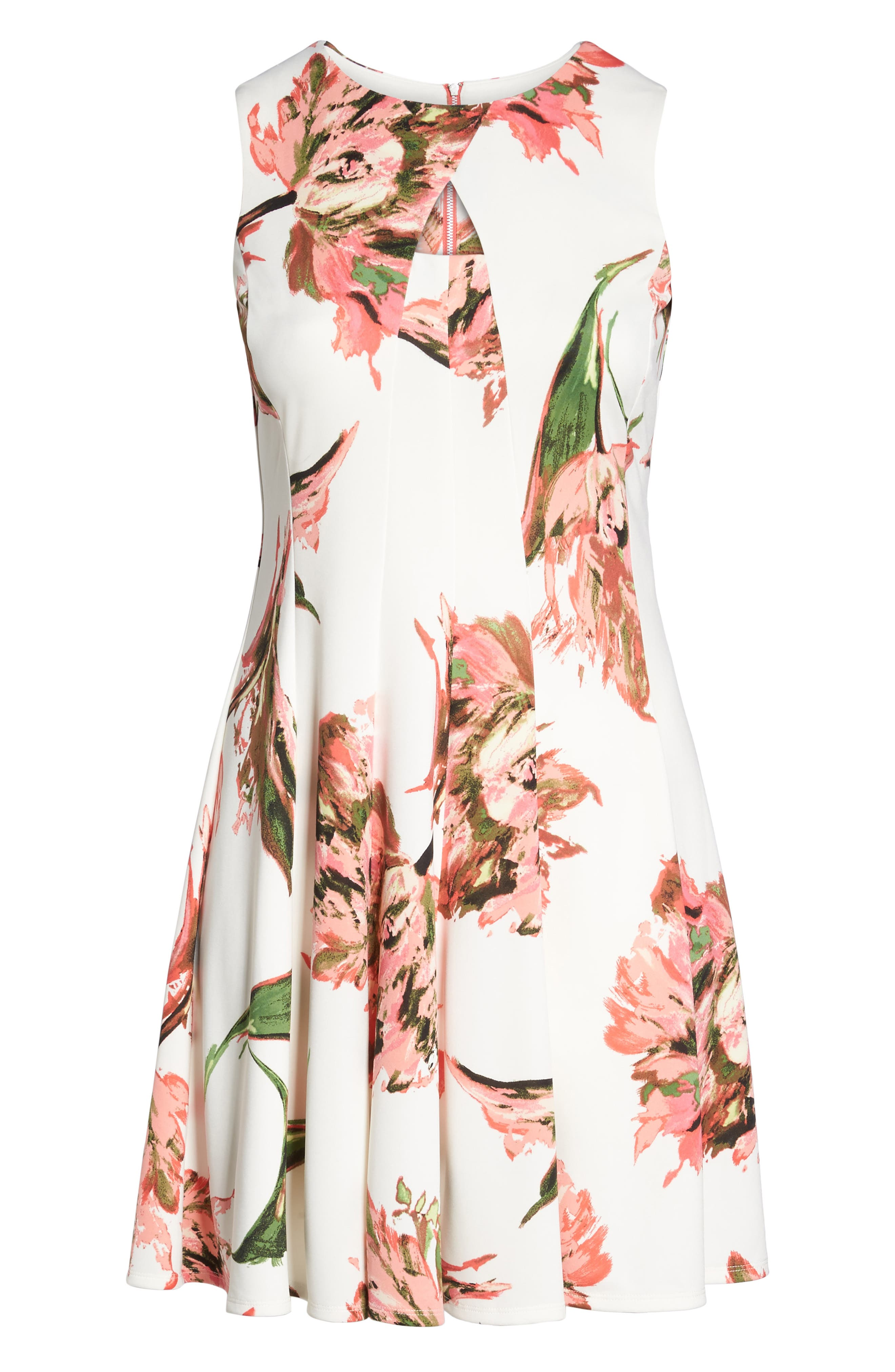 Floral Keyhole Fit & Flare Dress,                             Alternate thumbnail 6, color,                             Coral/ Ivory