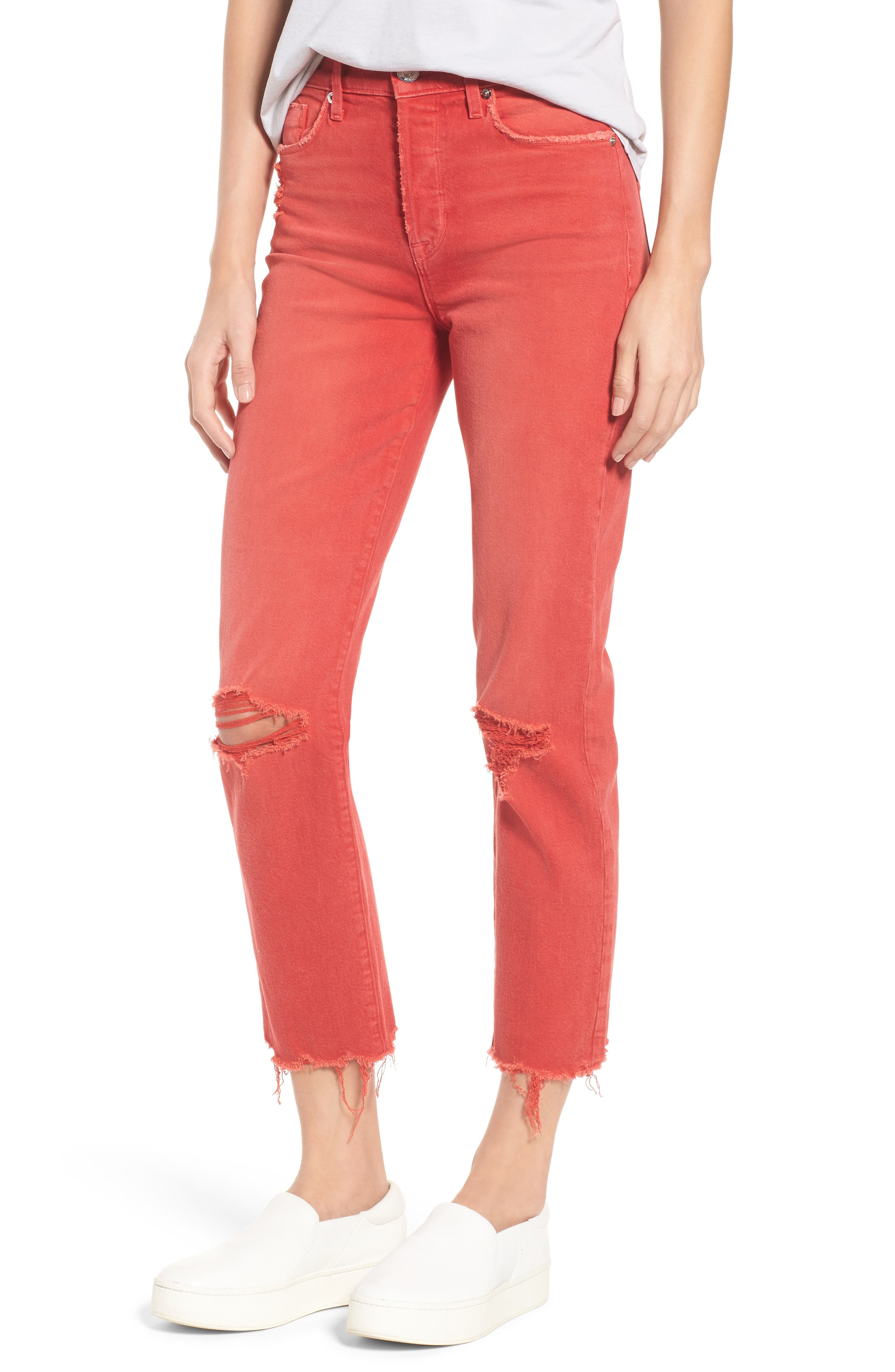 Zoeey Crop Straight Leg Jeans,                         Main,                         color, Red Alert