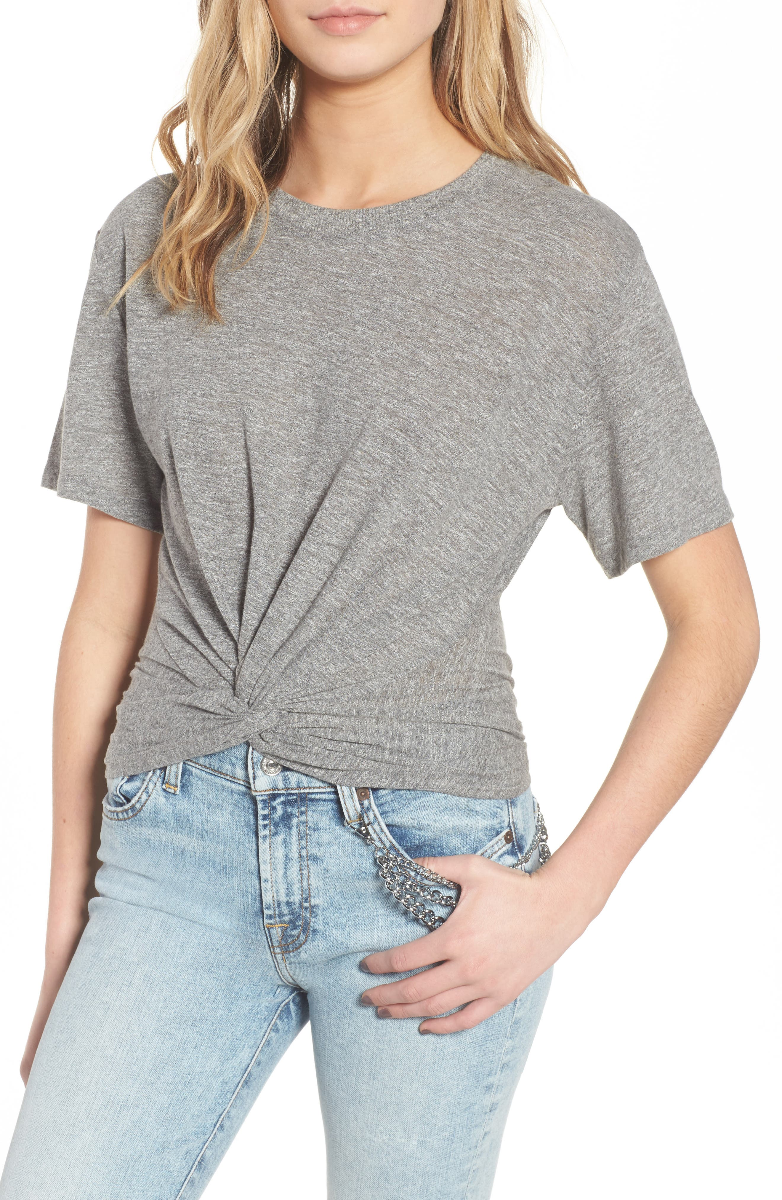 Knotted Tee,                         Main,                         color, Heather Grey