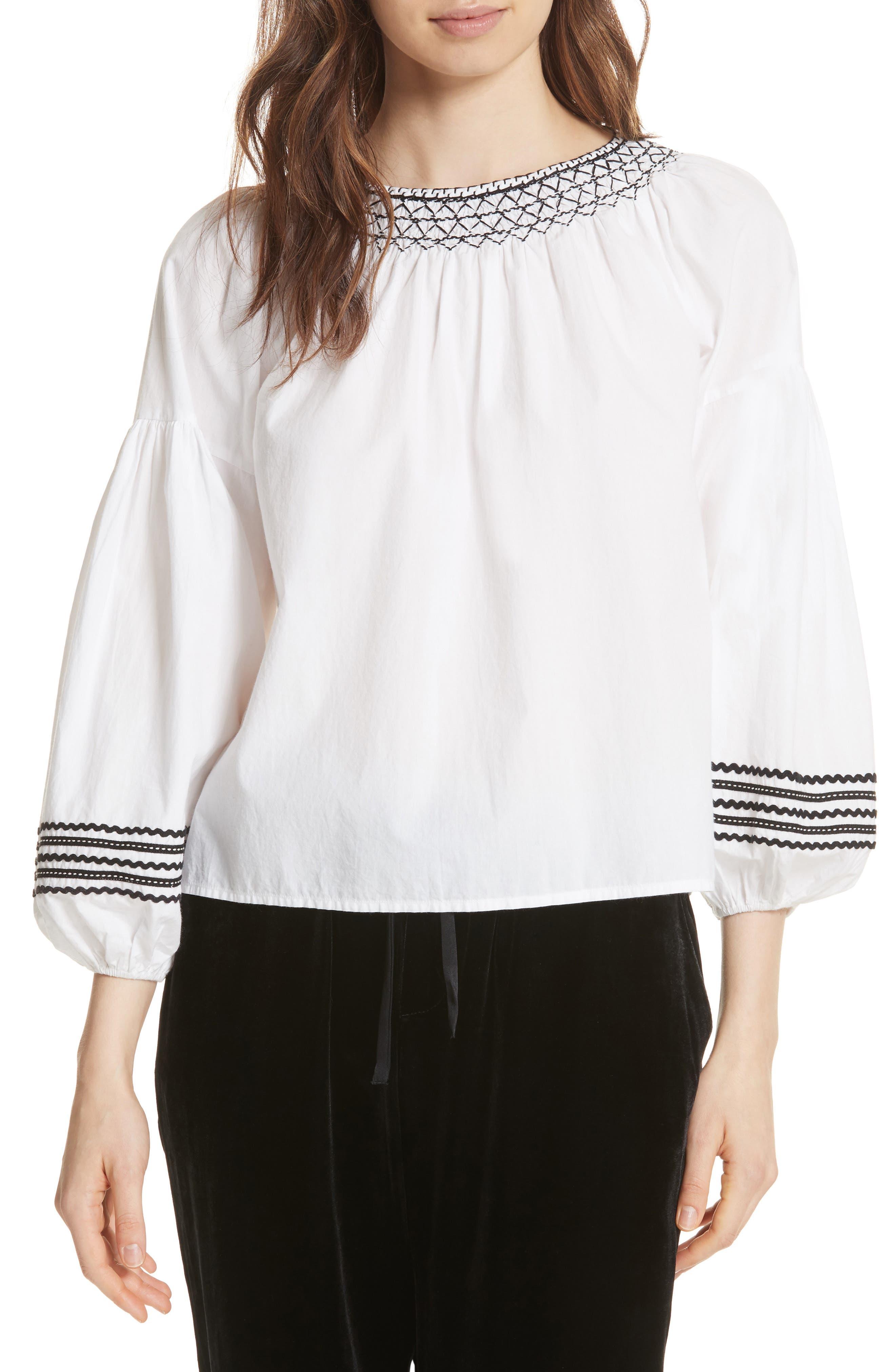 Ghada Peasant Top,                         Main,                         color, Clean White