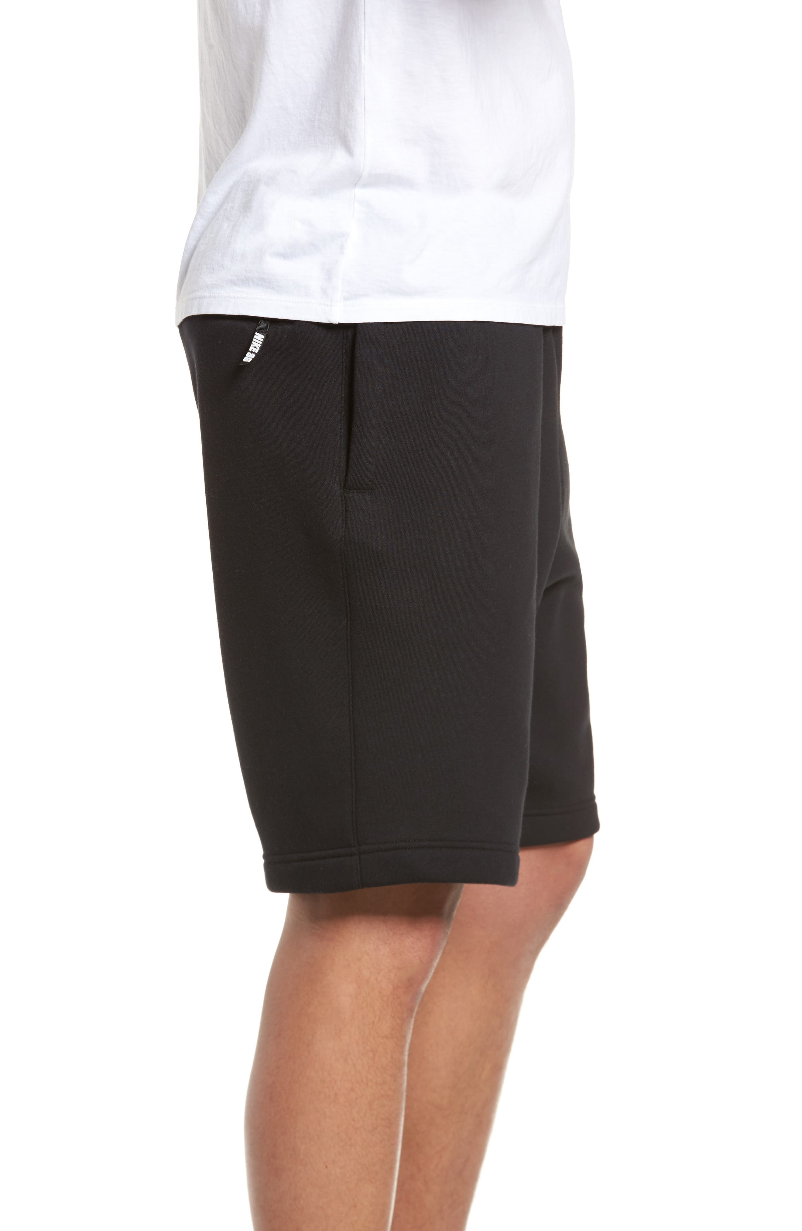 Fleece Shorts,                             Alternate thumbnail 3, color,                             Black/ White