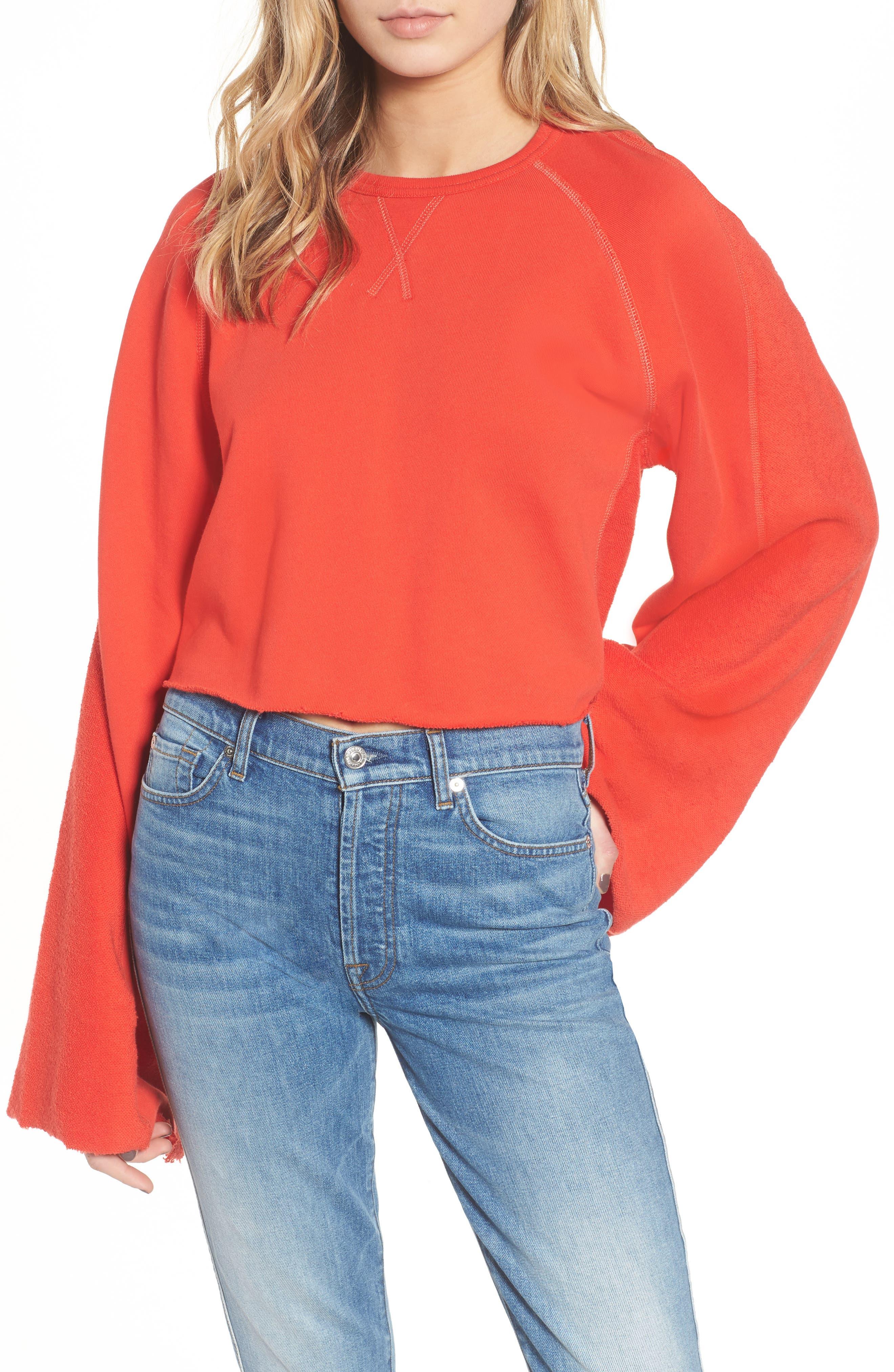 Alternate Image 1 Selected - 7 For All Mankind® Flare Sleeve Crop Sweatshirt