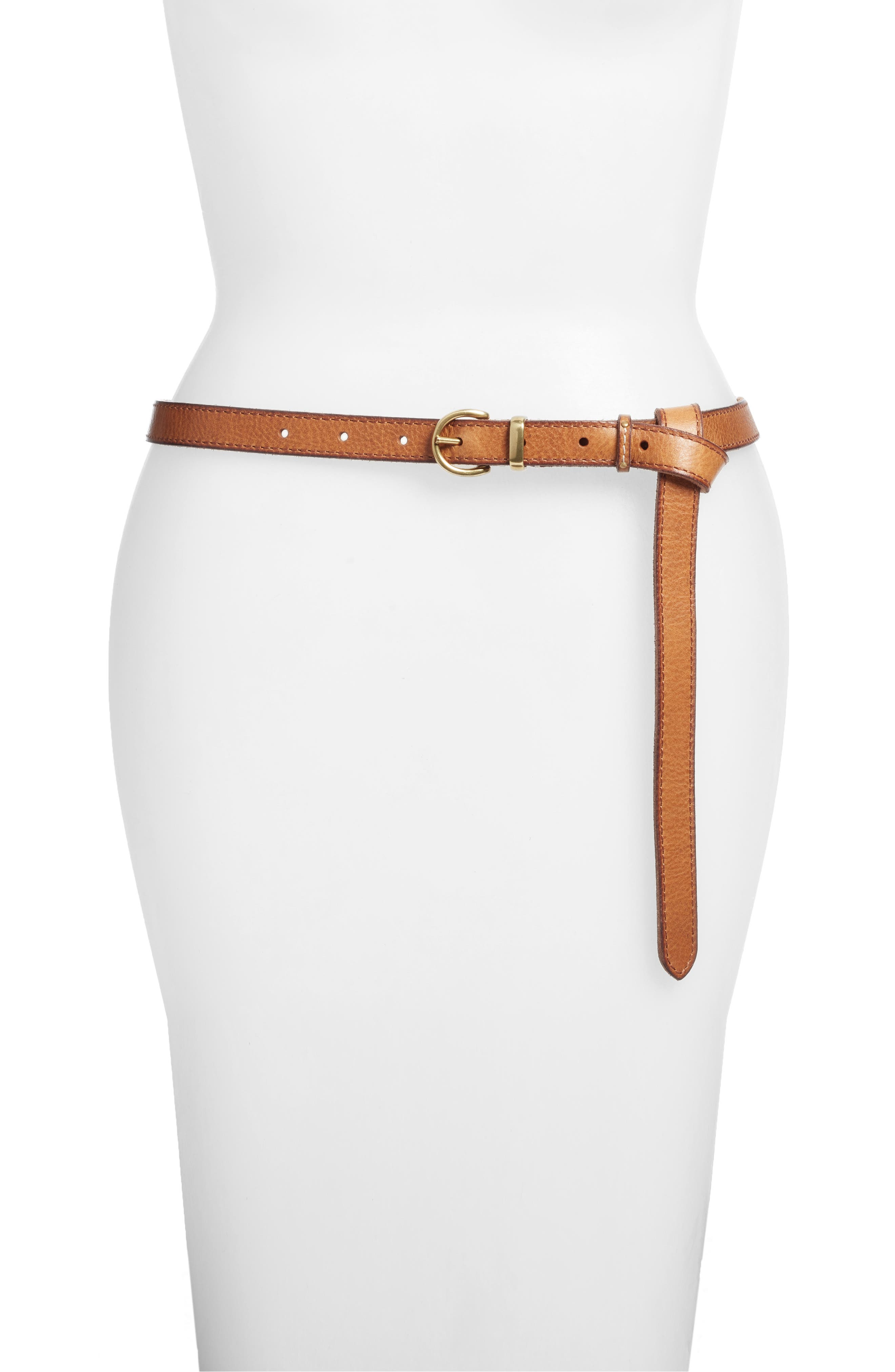 Campus Knotted Leather Belt, Tan