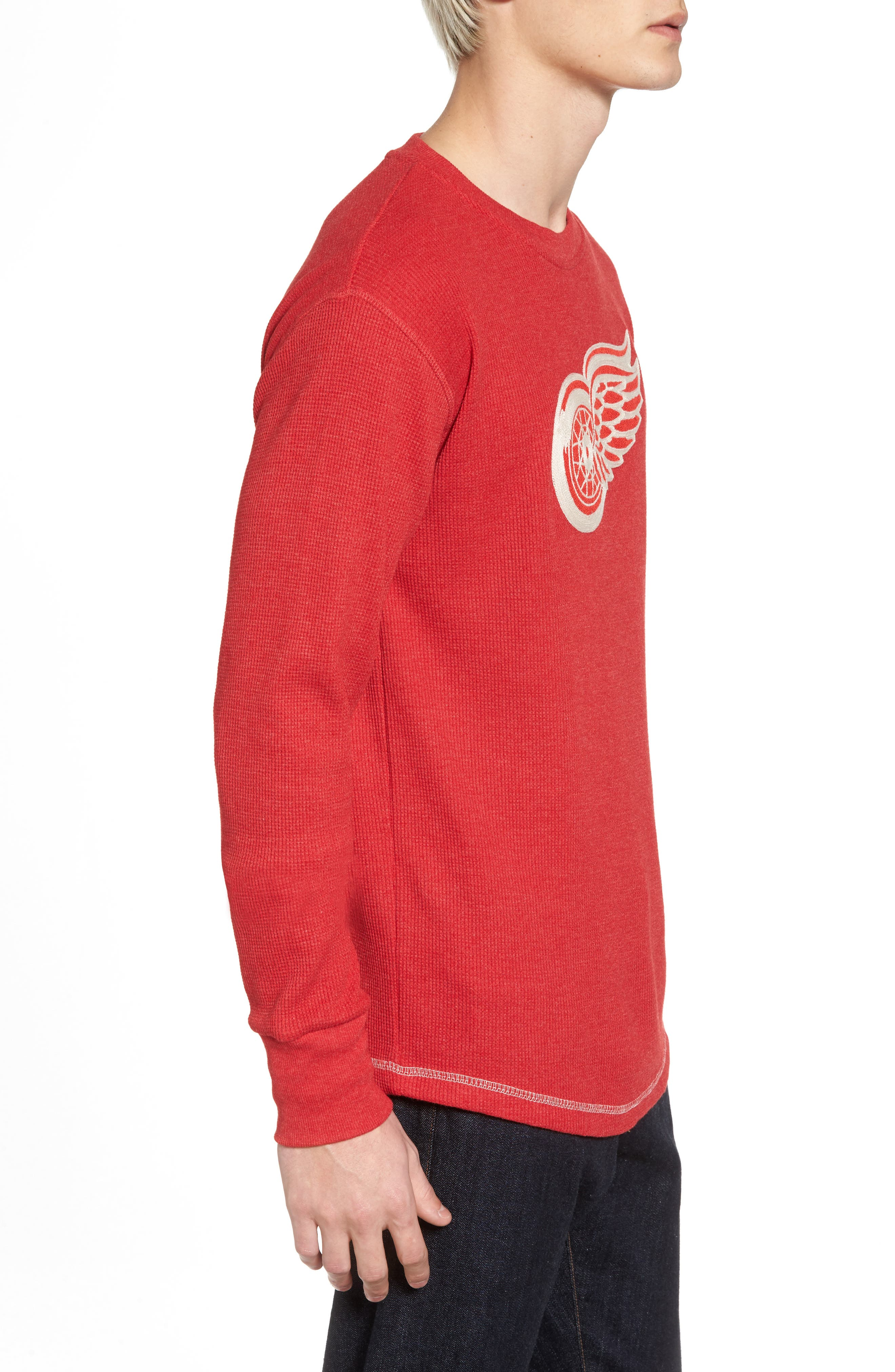 Detroit Red Wings Embroidered Long Sleeve Thermal Shirt,                             Alternate thumbnail 3, color,                             Red